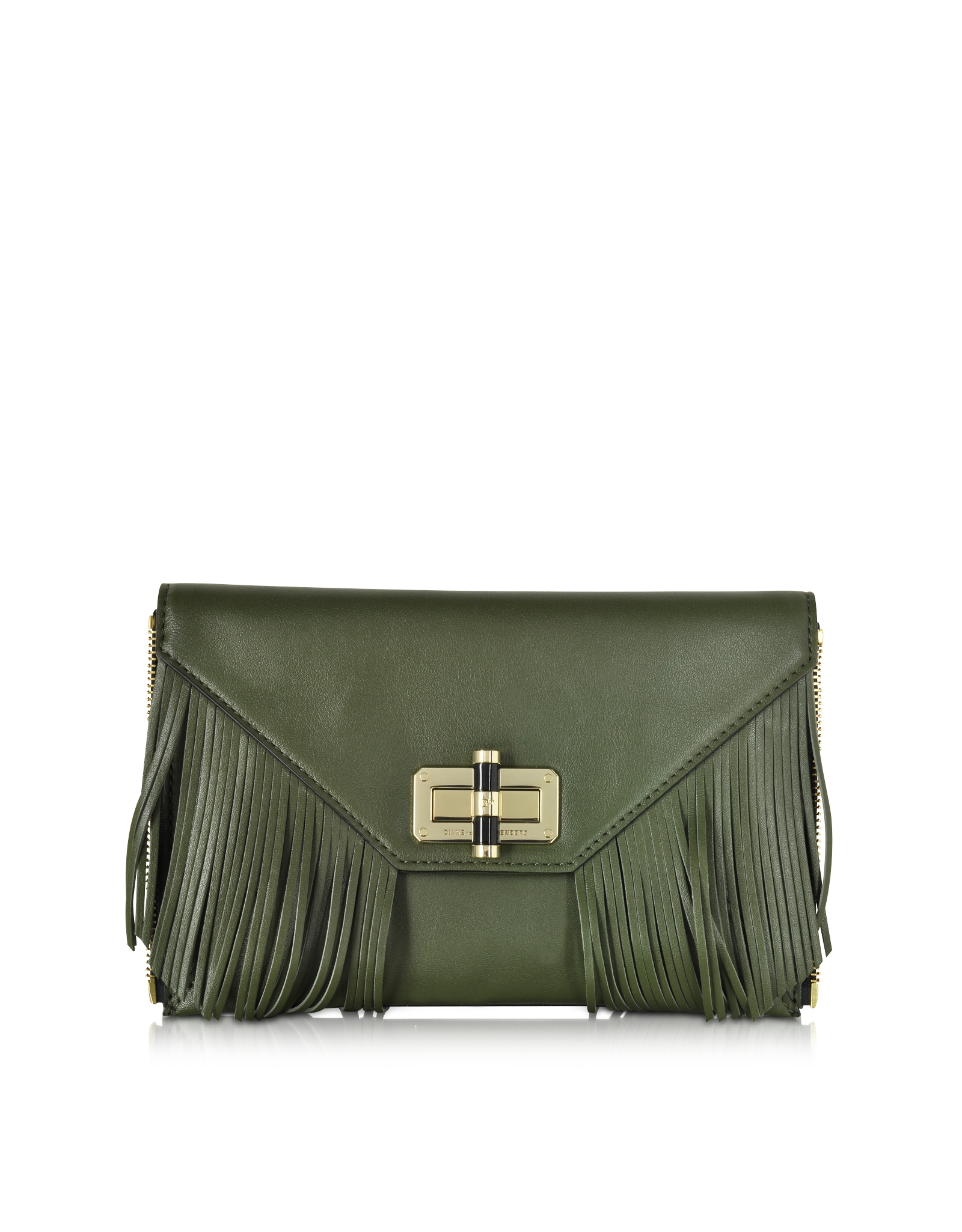 439cc6d5e9158 Diane von Furstenberg Agent Riley Fringe Zip On Leather Clutch in ...