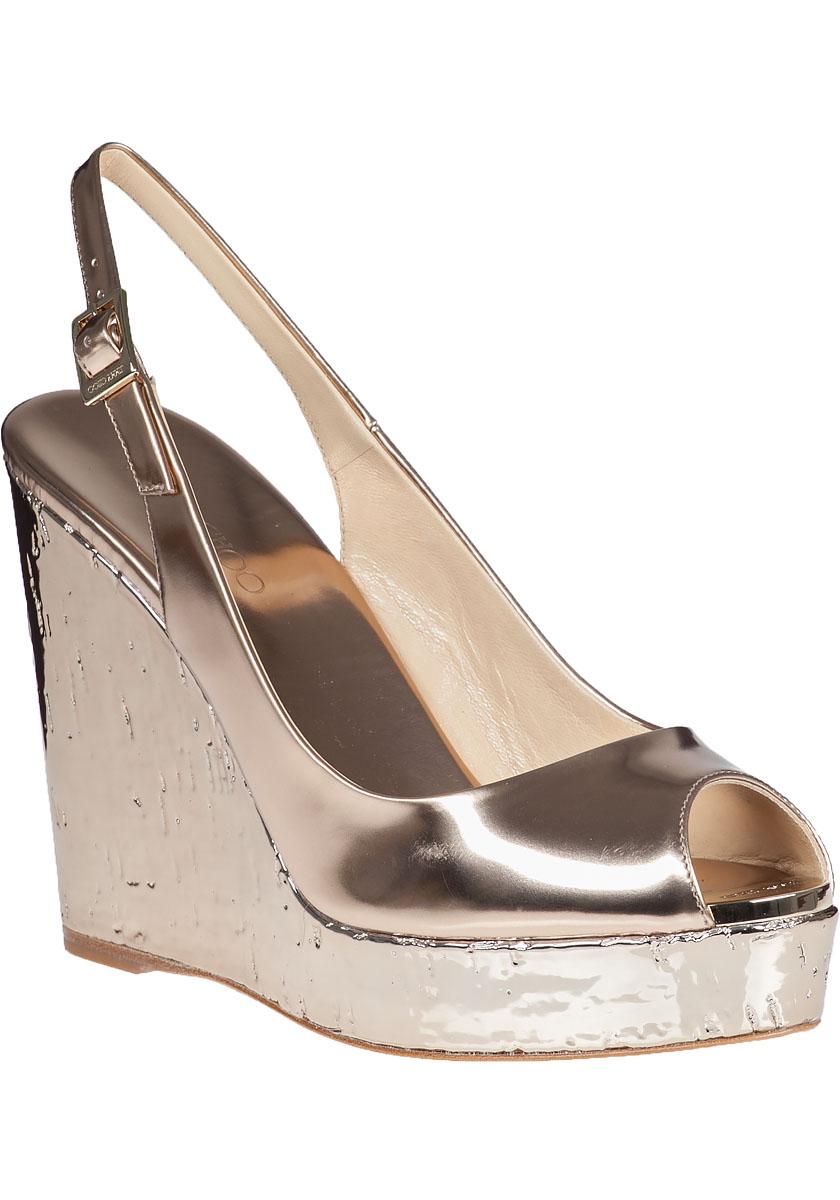 300d8f515d0 Lyst - Jimmy Choo Prova Wedge Sandal Metallic Nude Leather in Metallic