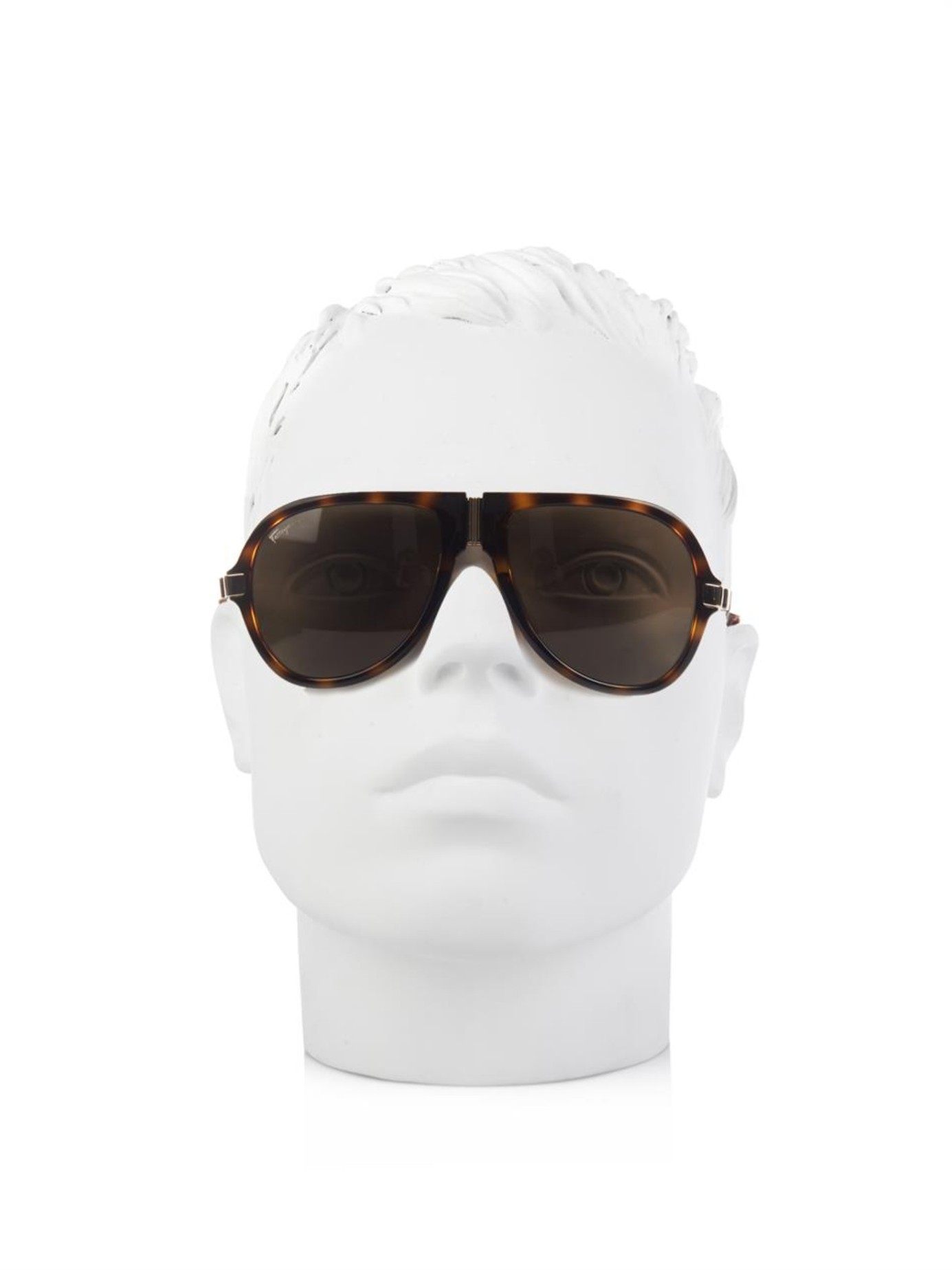 Ferragamo Folding Aviator-Style Sunglasses in Brown for Men