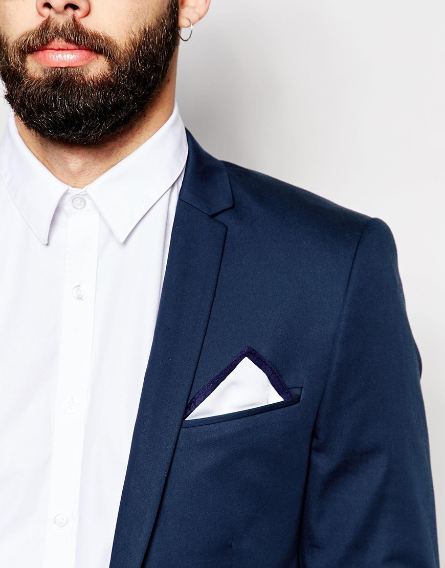 6bdfdcd996715 ASOS Pocket Square In White With Contrast Navy Border in Blue for ...