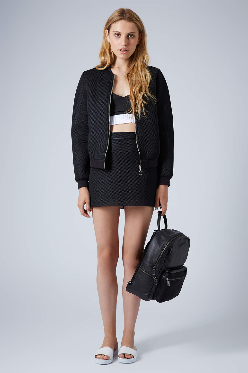 Topshop Airtex Bomber Jacket in Black | Lyst