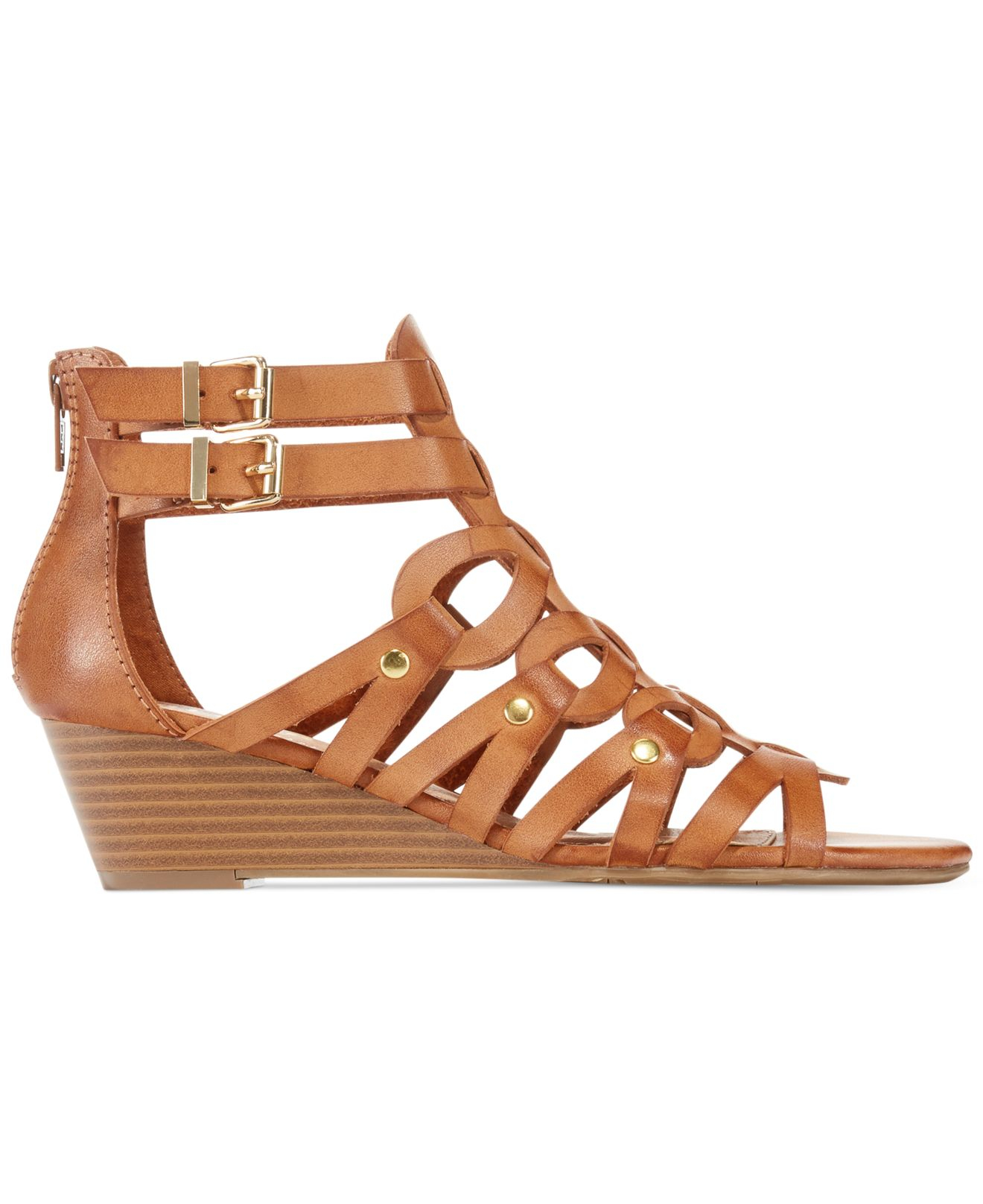 Lyst Report Midori Caged Gladiator Wedge Sandals In Brown