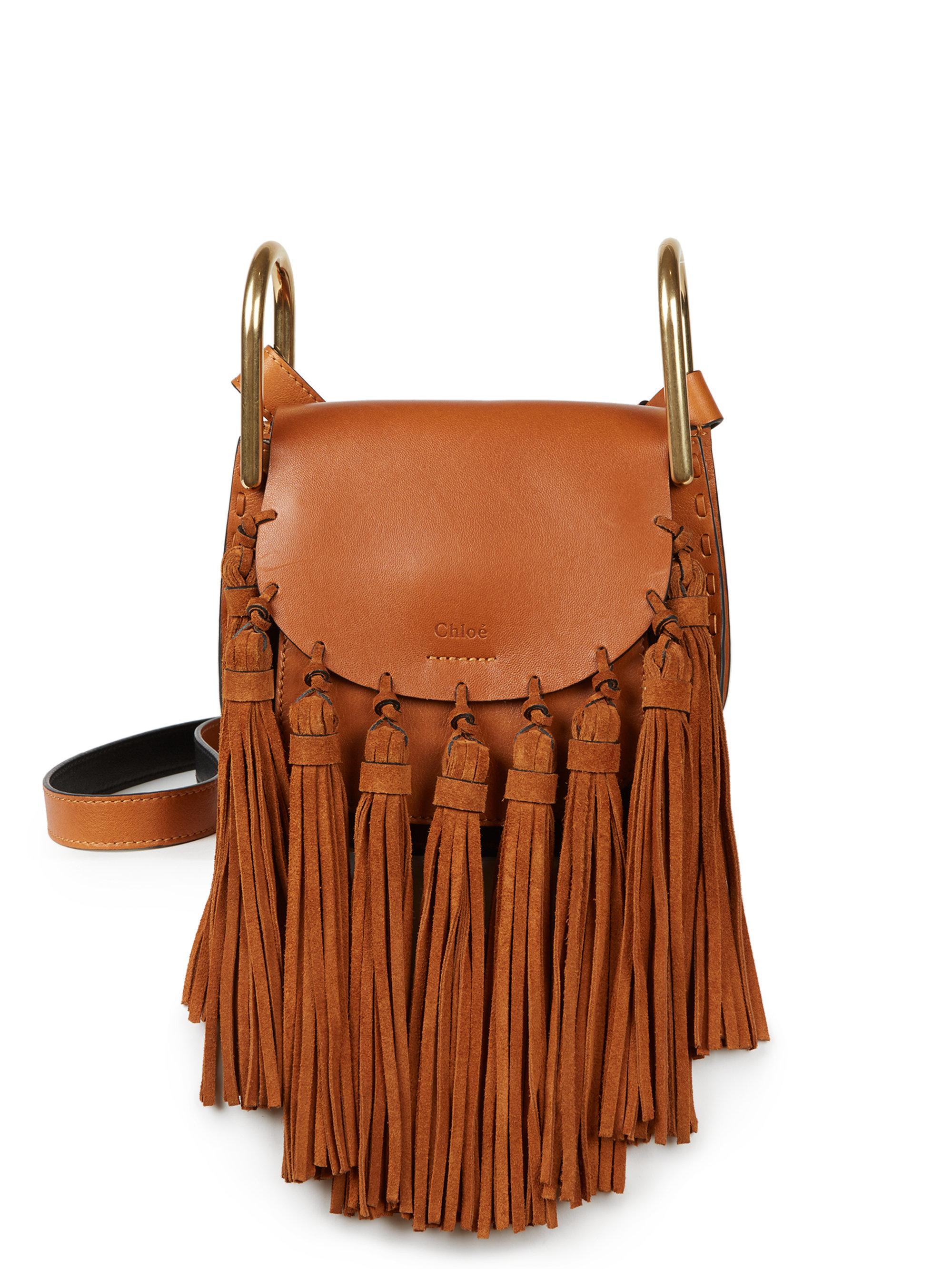 e27ec6863782d Chloé Hudson Small Leather & Suede Tassel Shoulder Bag in Brown - Lyst
