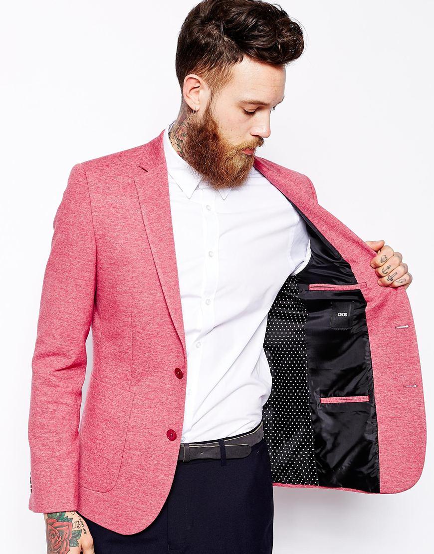 asos slim fit blazer in jersey in red for men lyst. Black Bedroom Furniture Sets. Home Design Ideas