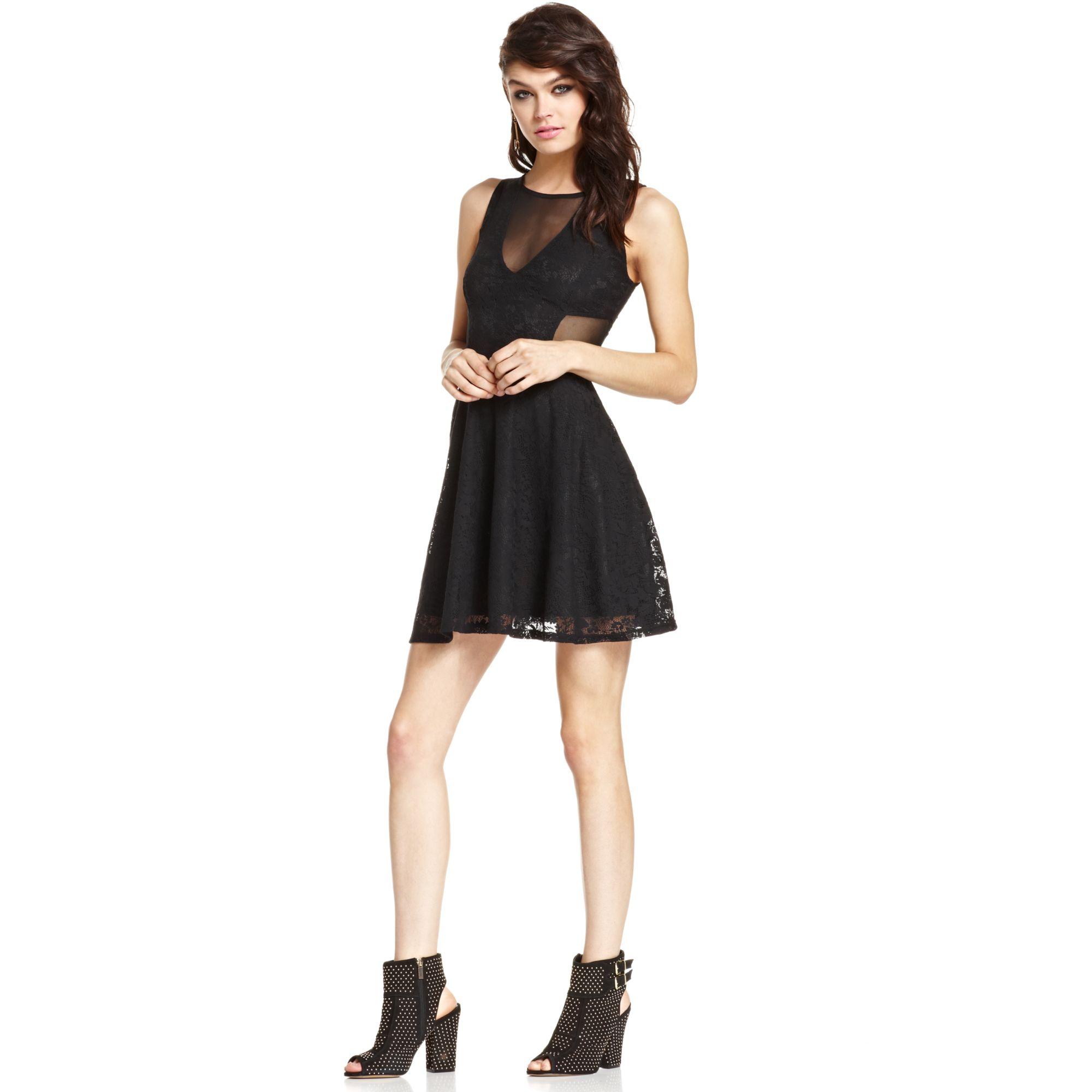 Material girl Juniors Lace Mesh Skater Dress in Black | Lyst