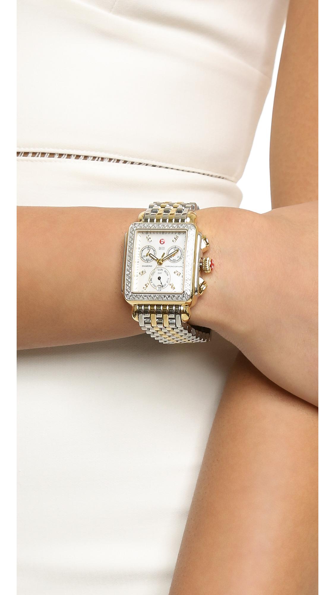 Michele Deco Diamond Watch Two Tone