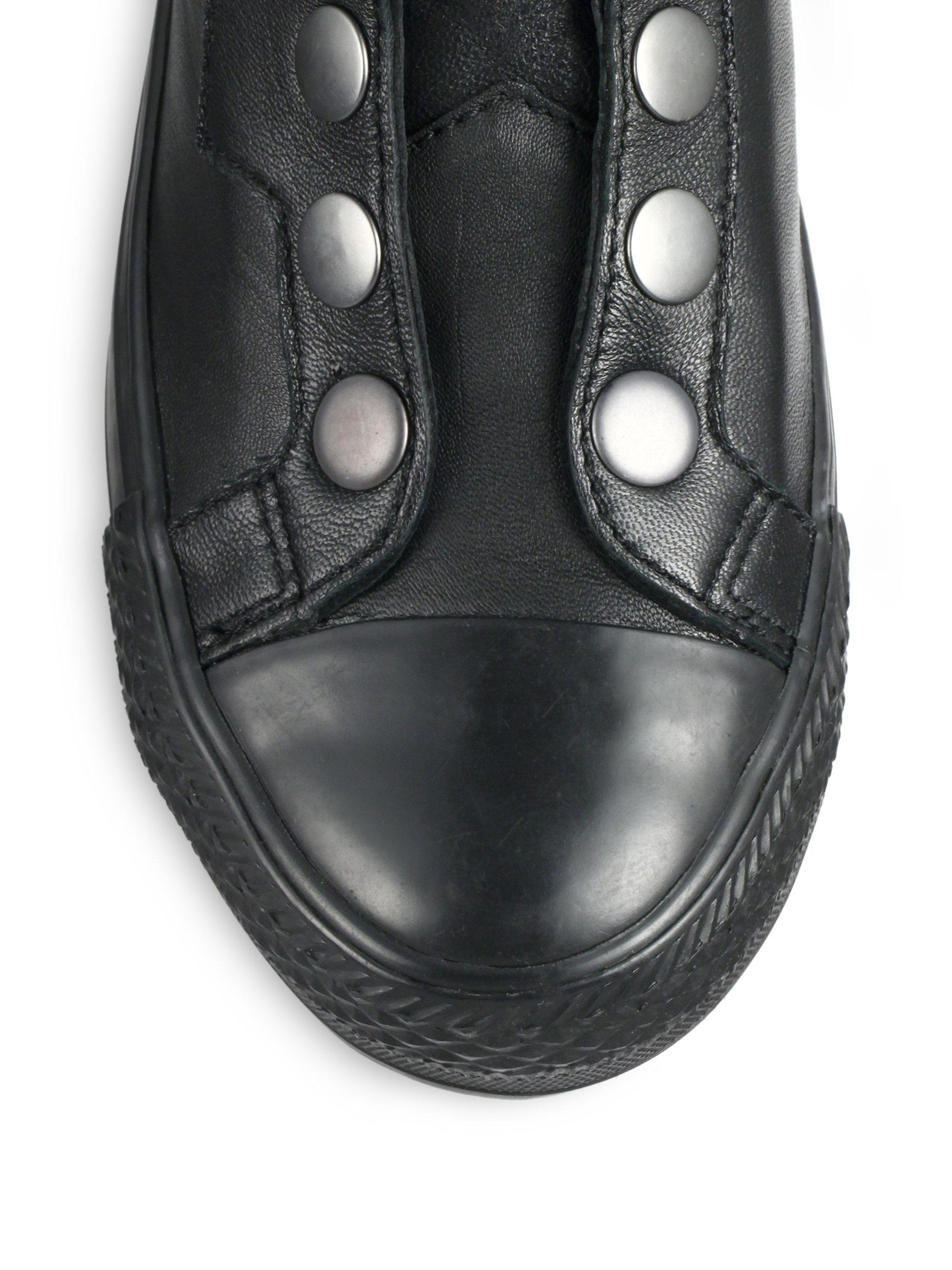 Ash Vespa Leatheramp; High Top Sneaker Black Snaps TFl1JKc3