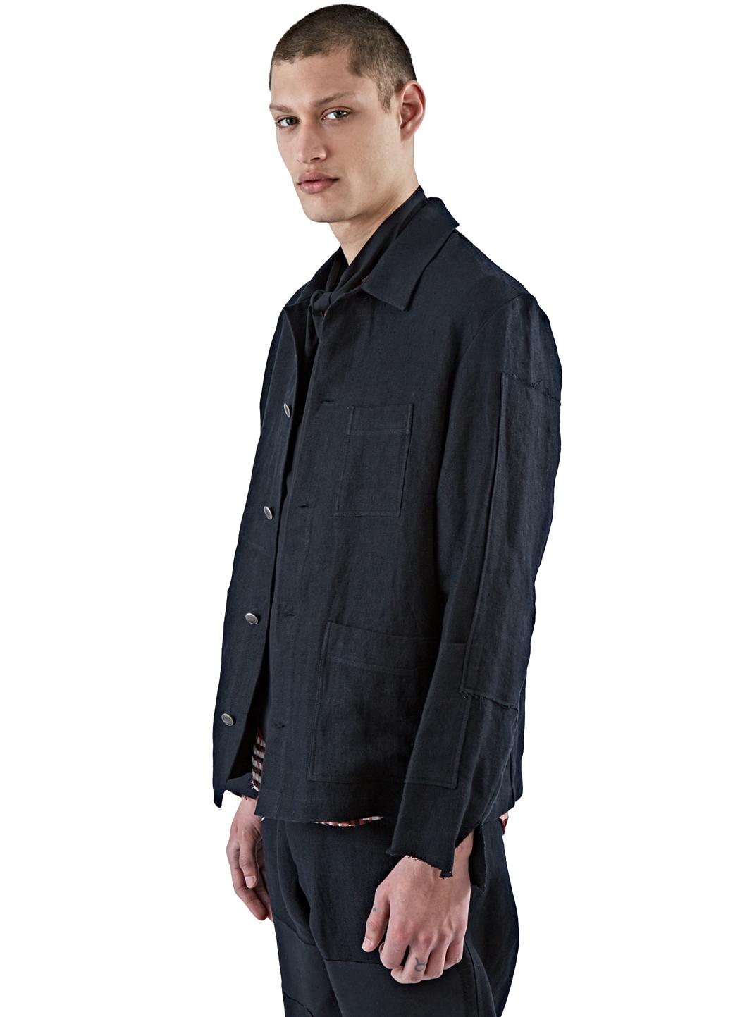 Lyst Aganovich Men S Linen Workman Jacket In Black In