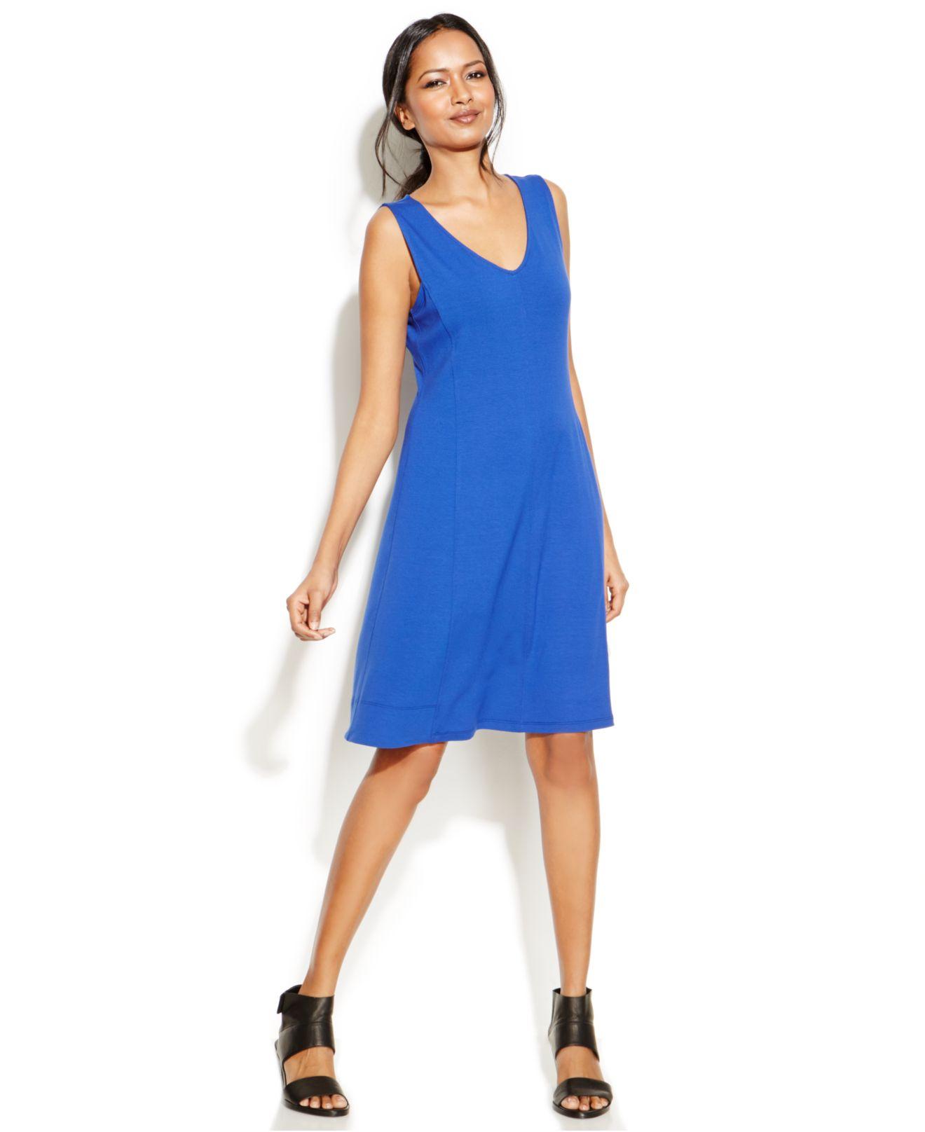 Eileen Fisher V-Neck Sleeveless Jersey Dress In Blue