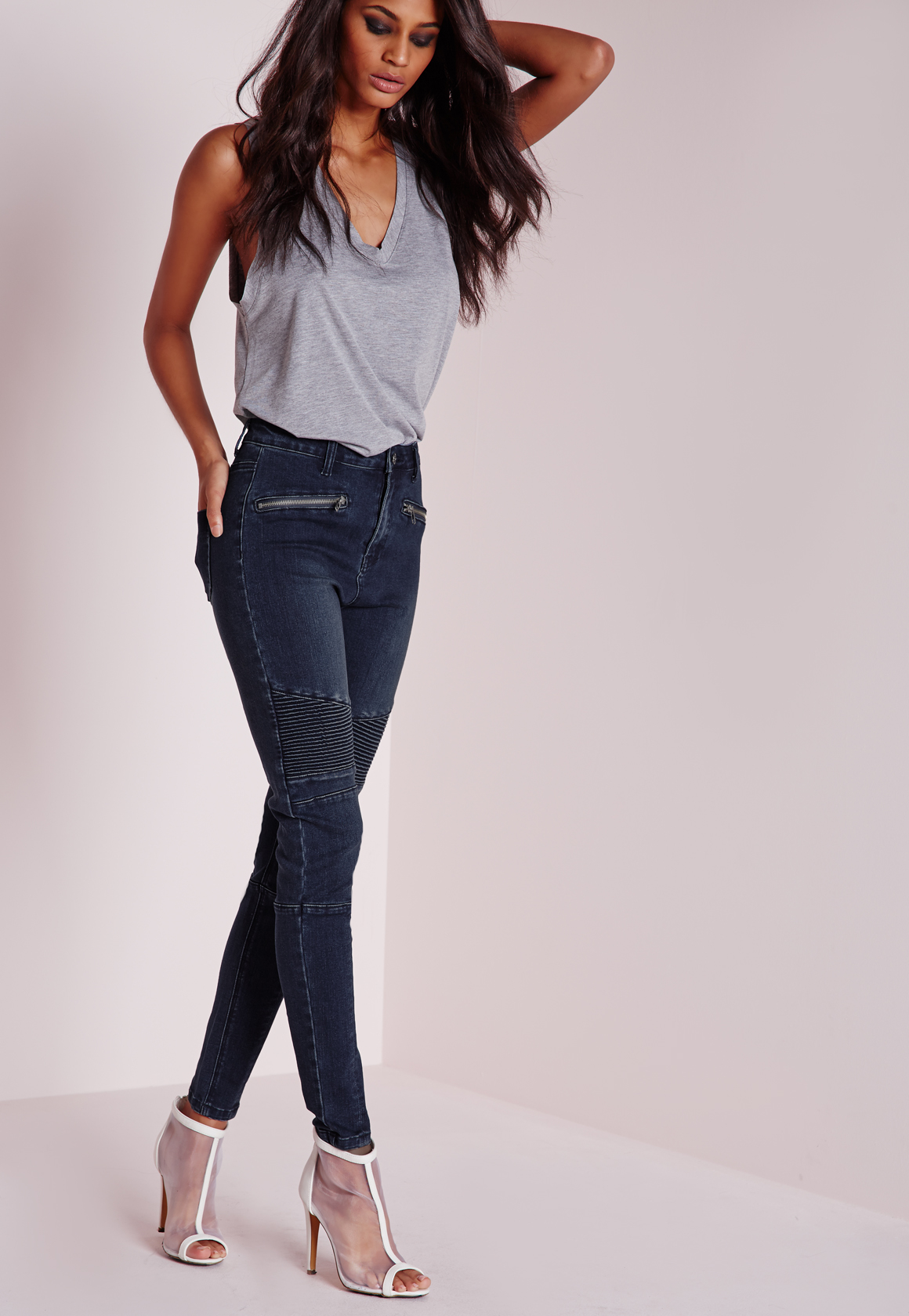 Jeans Tall Highwaisted Sinner Skinny Blue Lyst In Missguided Biker ZwxqWB