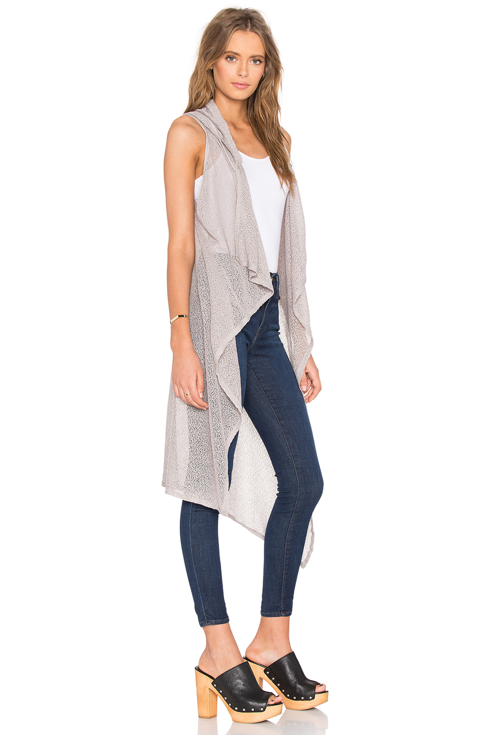 Bobi Mesh Sweater Sleeveless Long Cardigan in Gray | Lyst