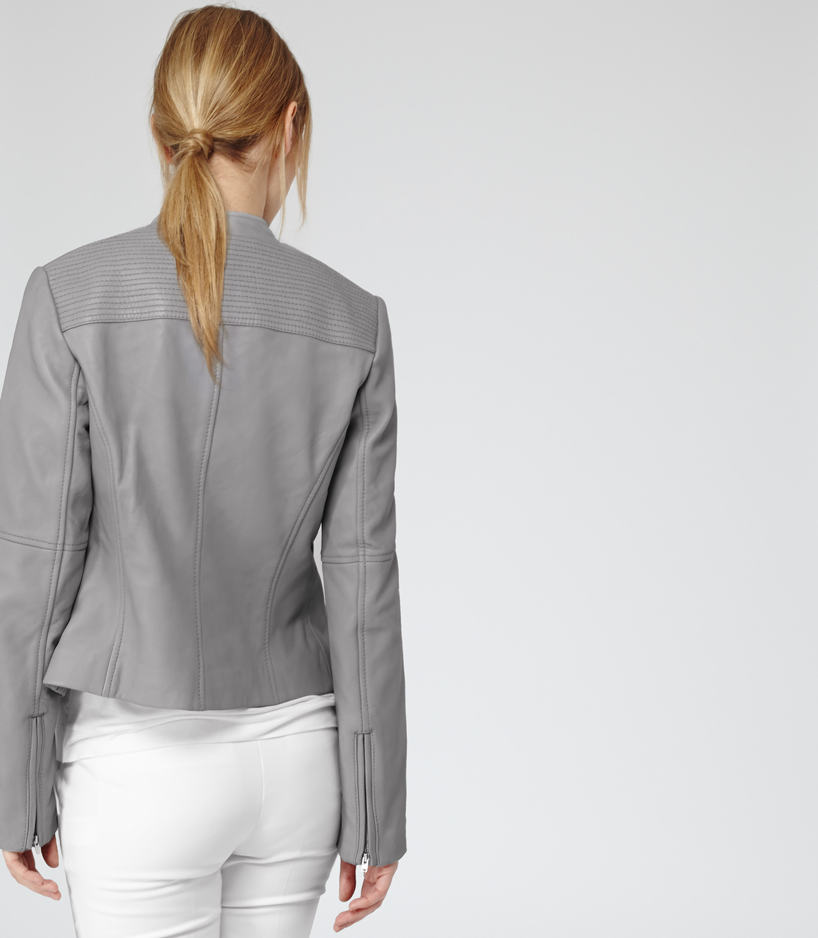 Reiss Jenn Short Collar Biker Jacket in Gray | Lyst