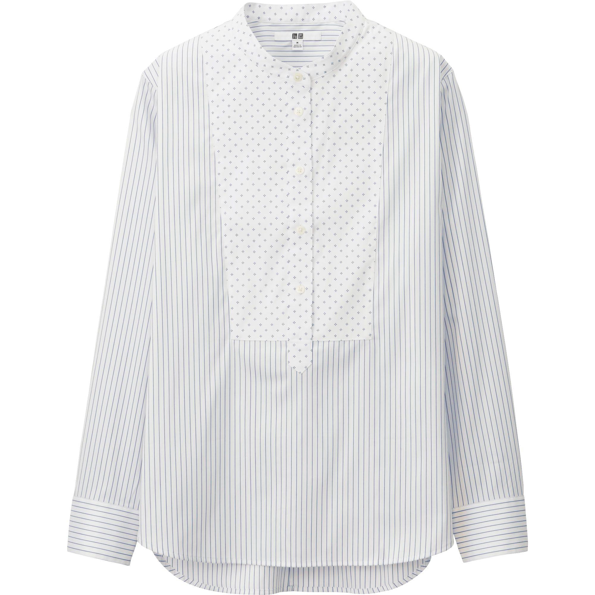 Uniqlo women supima cotton stretch long sleeve shirt in for Supima cotton dress shirts