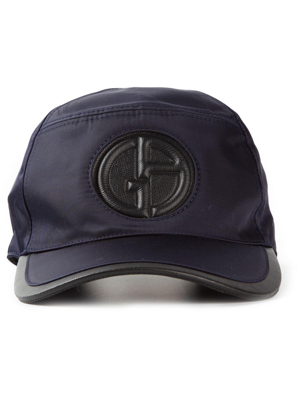 Giorgio Armani Logo Baseball Cap In Blue For Men Lyst