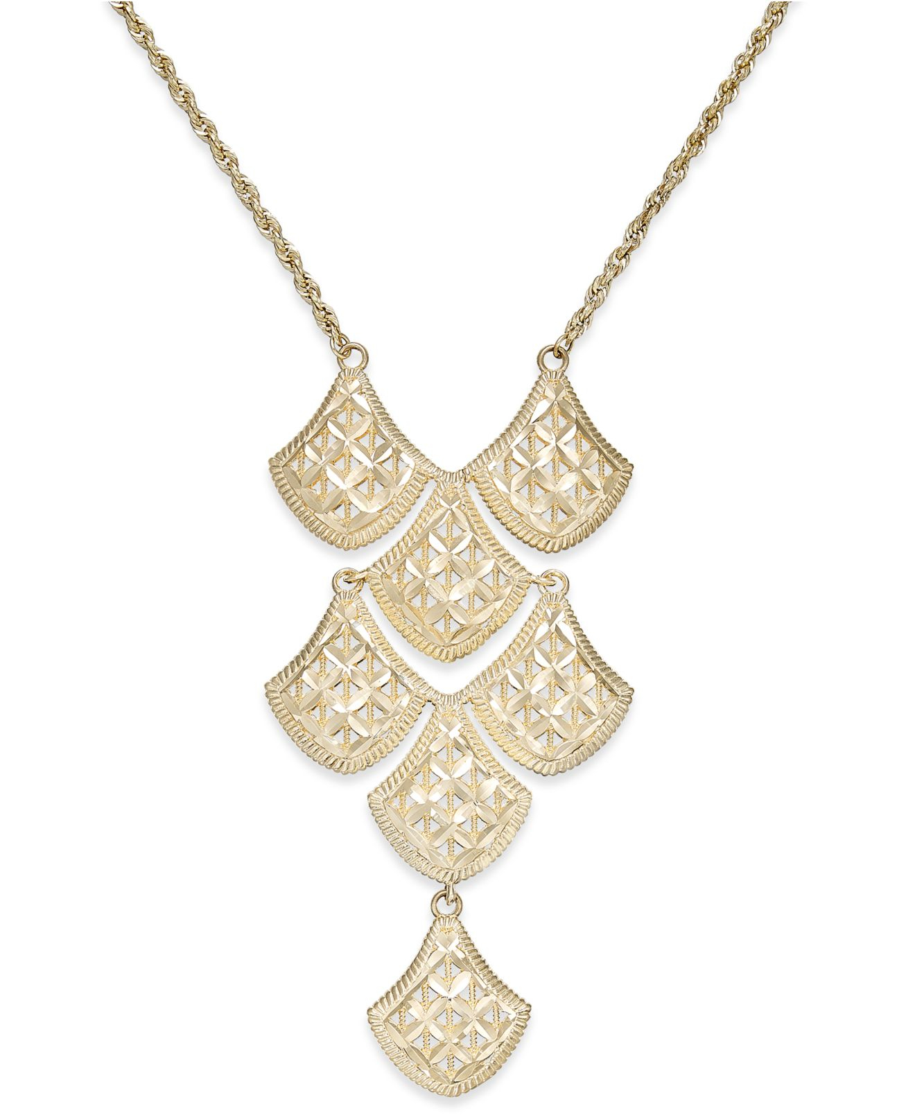 macy s cut mesh linked frontal necklace in 14k