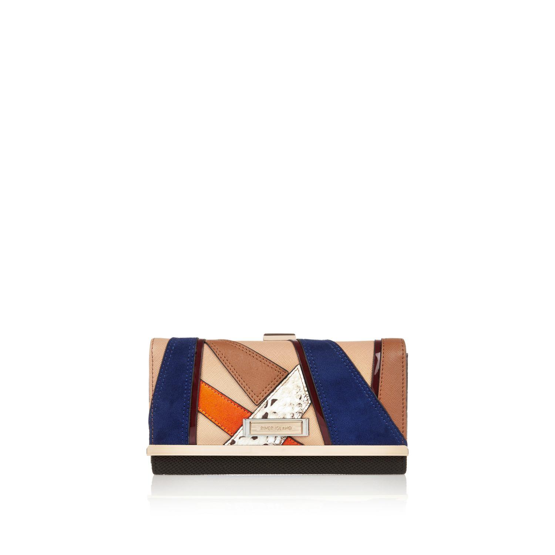 River Island Dark Brown Patchwork Tote Handbag Blue Patchwork Clip Top Purse