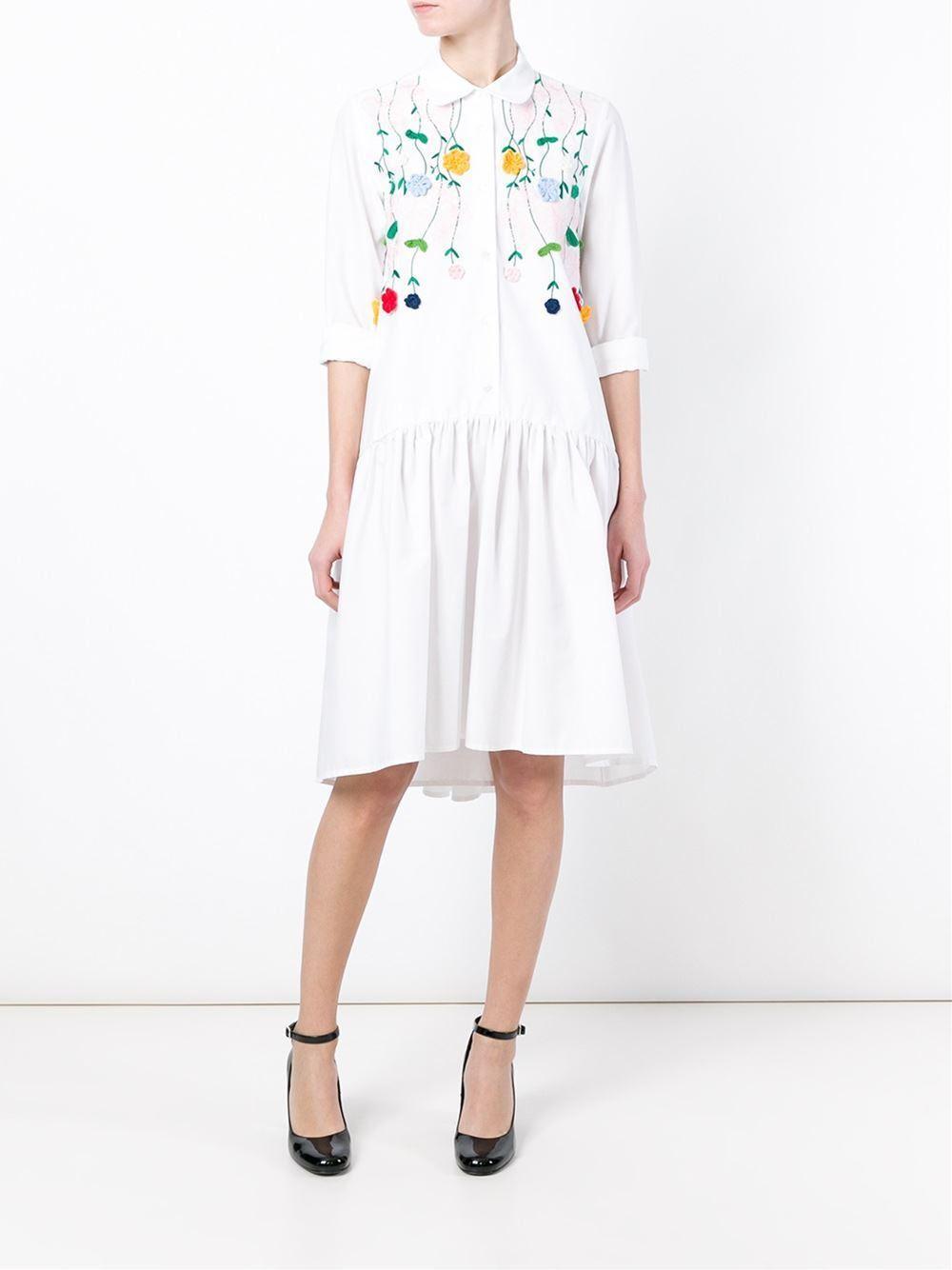 Vivetta sveva embroidered shirt dress in white lyst