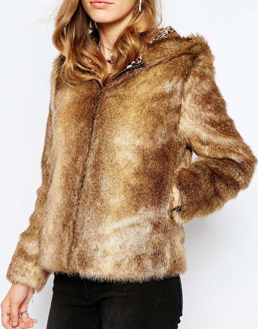 Lyst Pepe Jeans Faux Fur Jacket With Hood In Brown