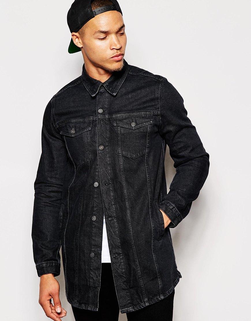 Antioch Longline Denim Jacket in Black for Men | Lyst