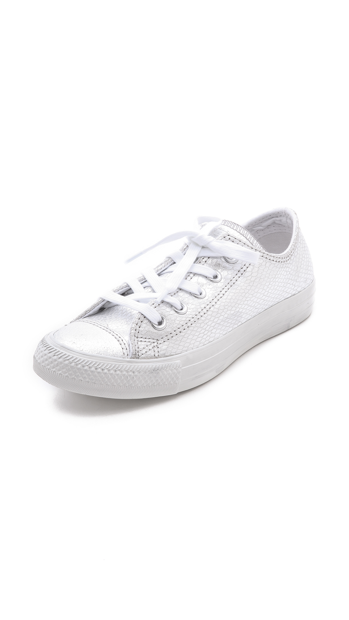 Converse Low Top Ox Sneakers Silver In Silver Lyst