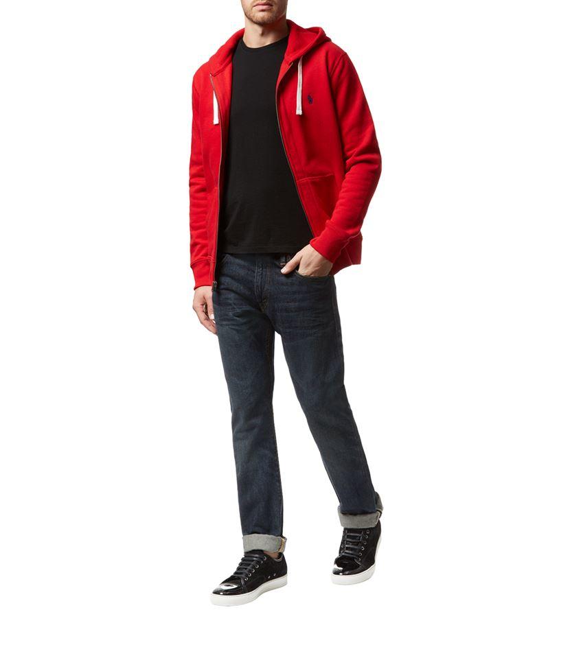 polo ralph lauren classic fleece zip hoodie in red for men. Black Bedroom Furniture Sets. Home Design Ideas