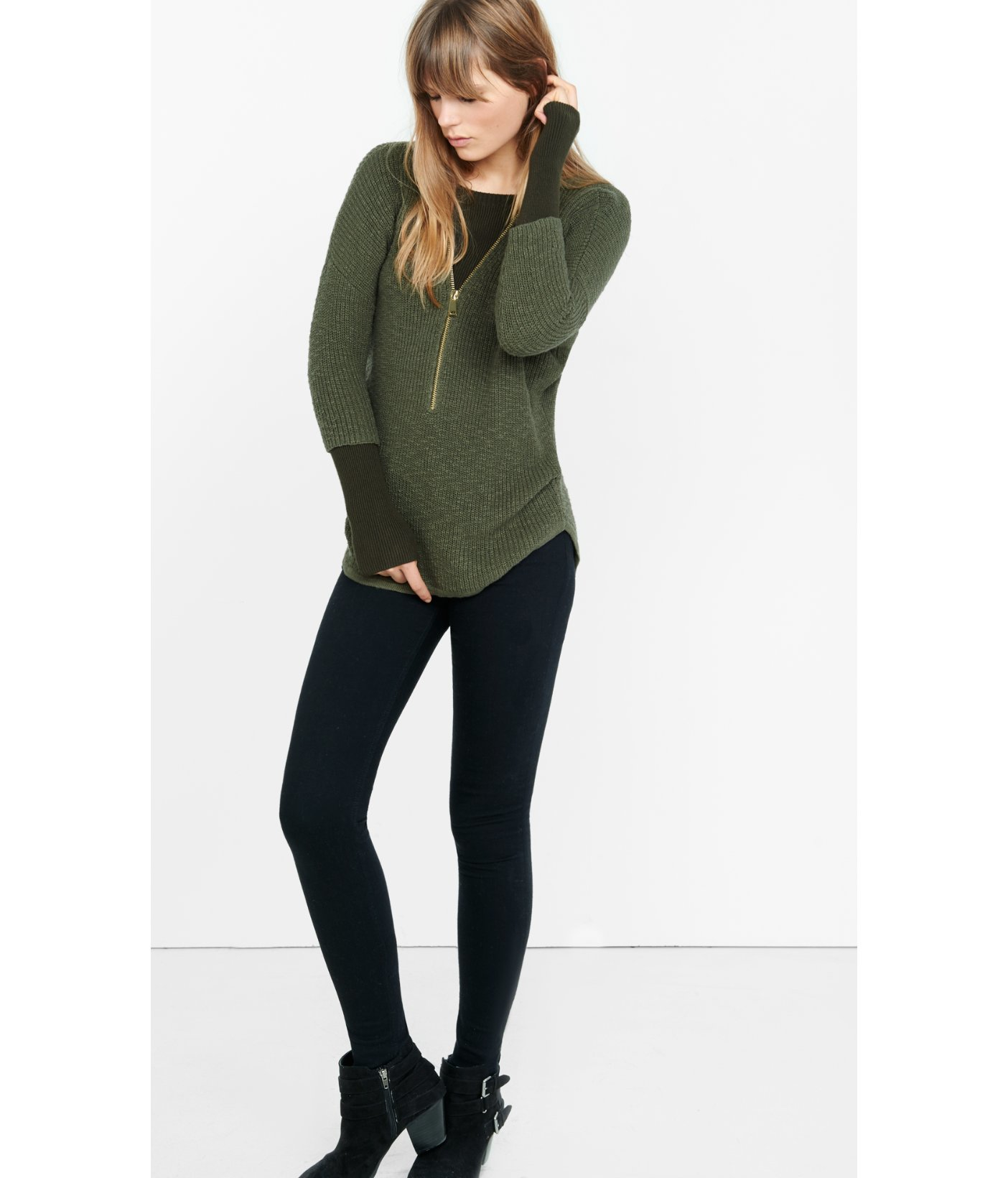 Express Zip Front London Tunic Sweater in Green | Lyst