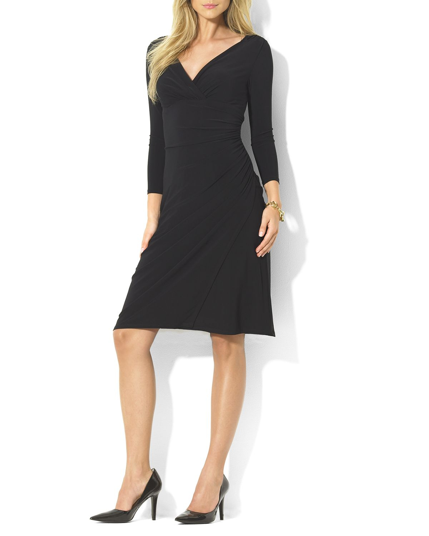 Ralph Lauren Lauren Dress V Neck Jersey In Black Lyst