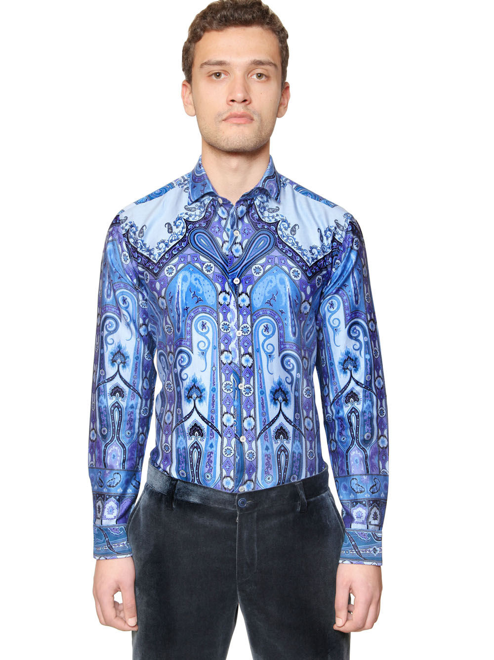 Etro Washed Cotton Satin Shirt in Blue for Men | Lyst