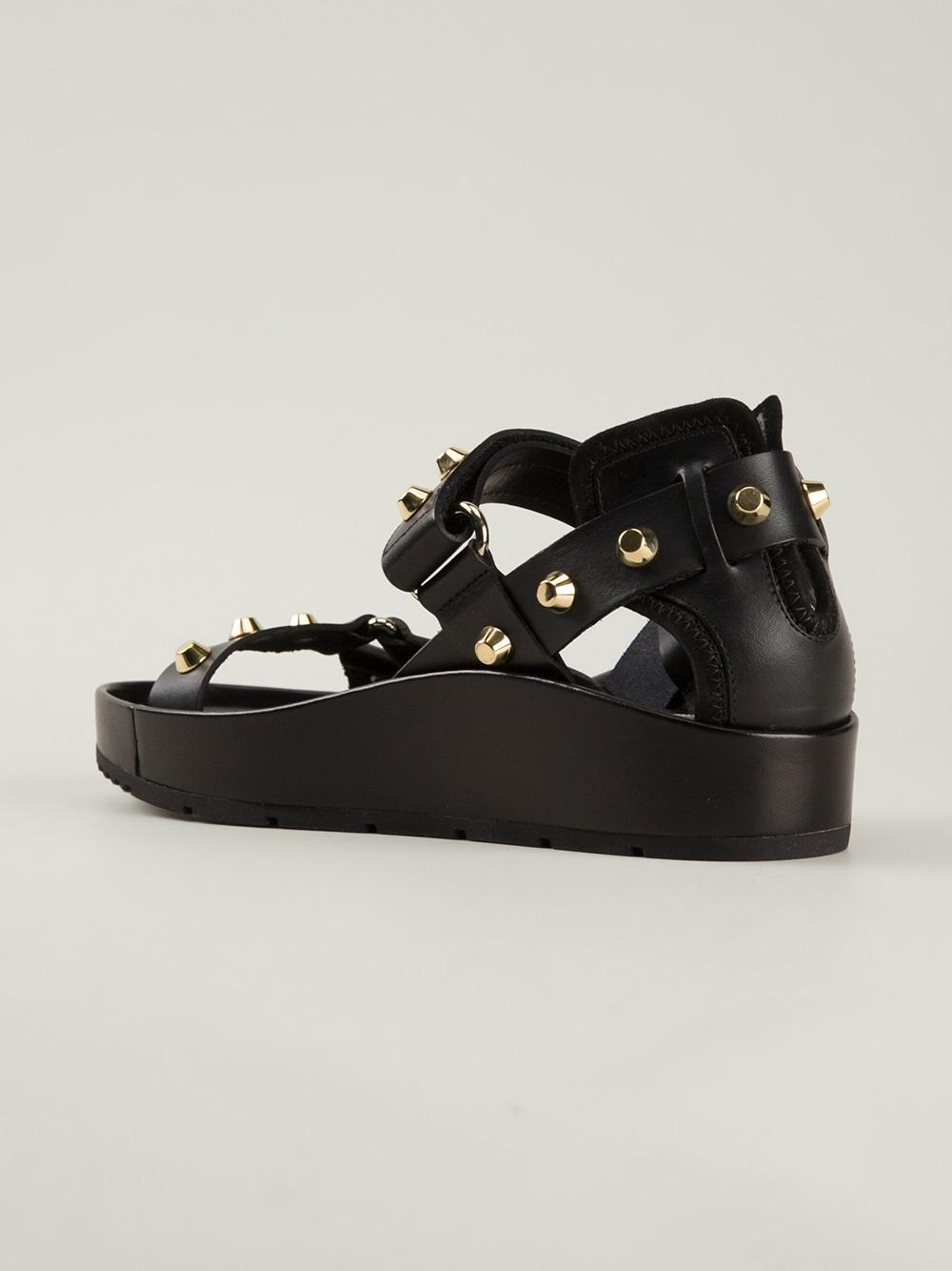 Balenciaga Studded Sandal in Black - Lyst