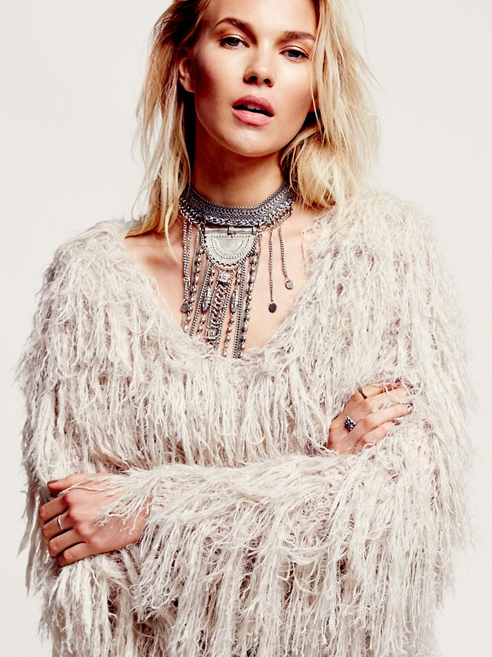 Free People Faithful Shaggy Jacket In Sand Natural Lyst