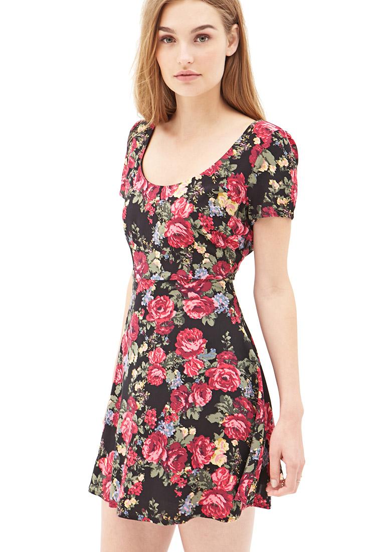 Forever 21 Woven Floral Skater Dress | Lyst
