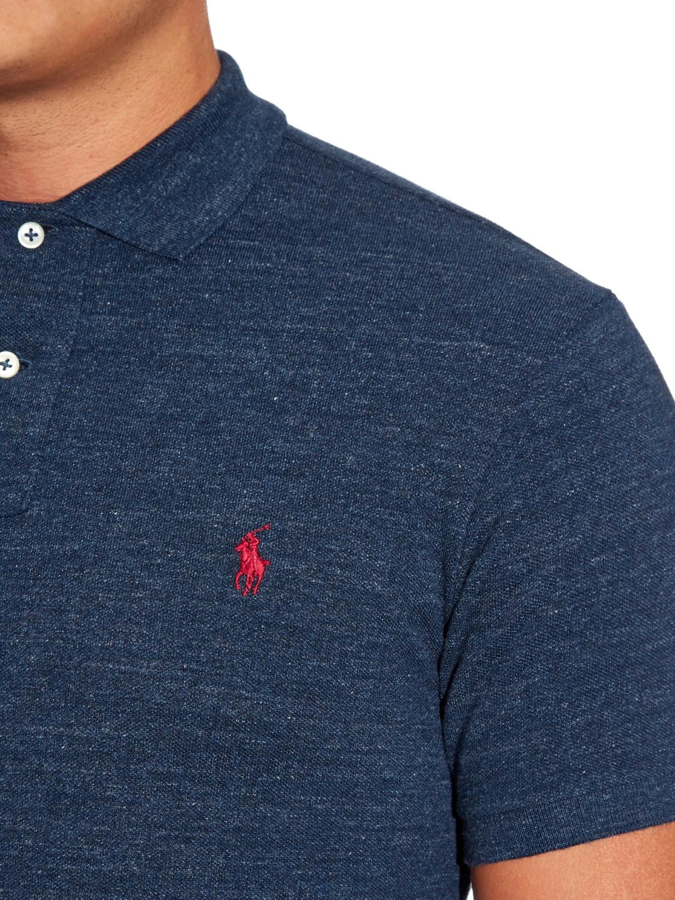 Shirt Fit Polo Cotton Men Ralph Slim Blue Piqué Lauren For Qrhtsd