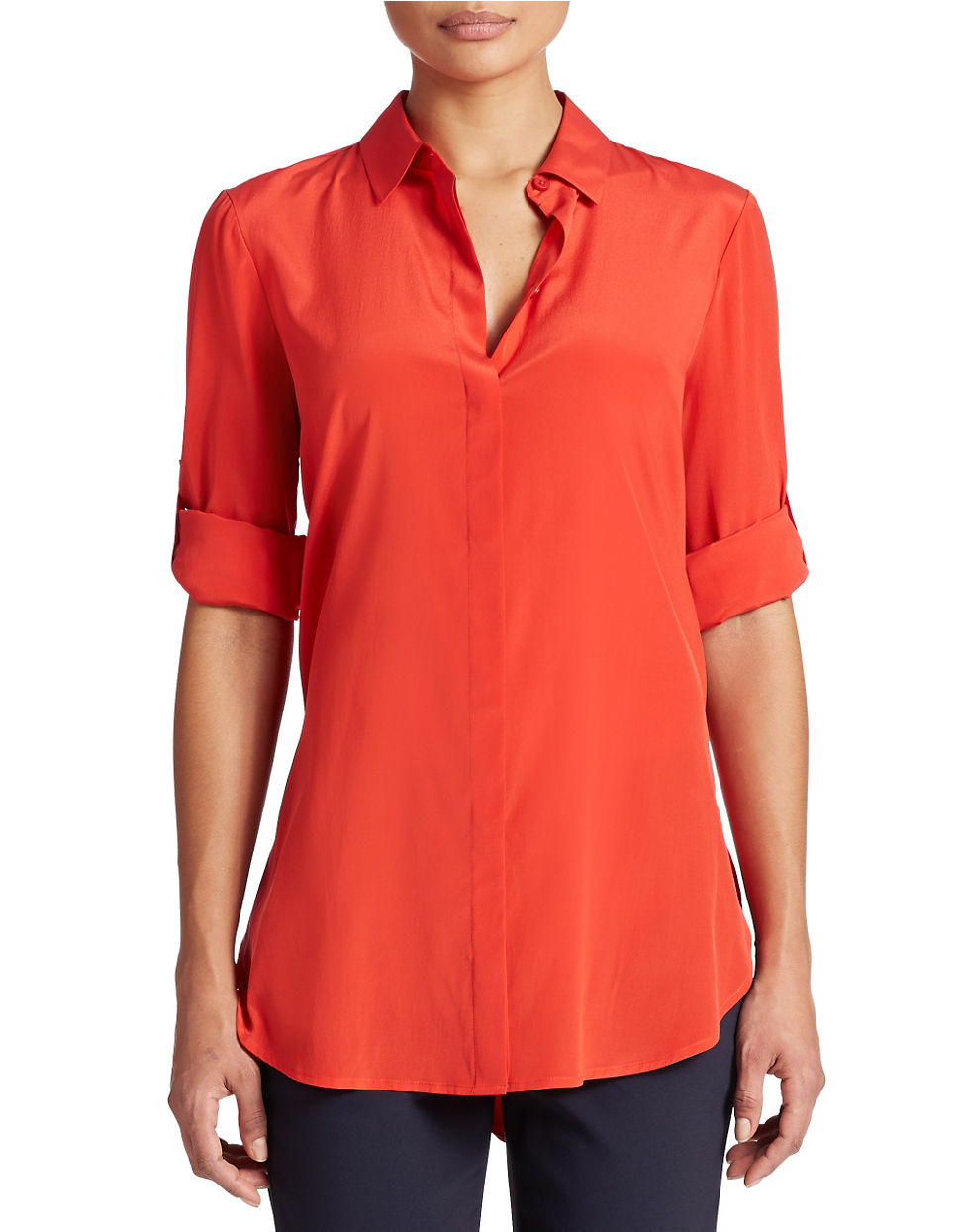 Dkny silk button down blouse in red blazing lyst for Silk button down shirt