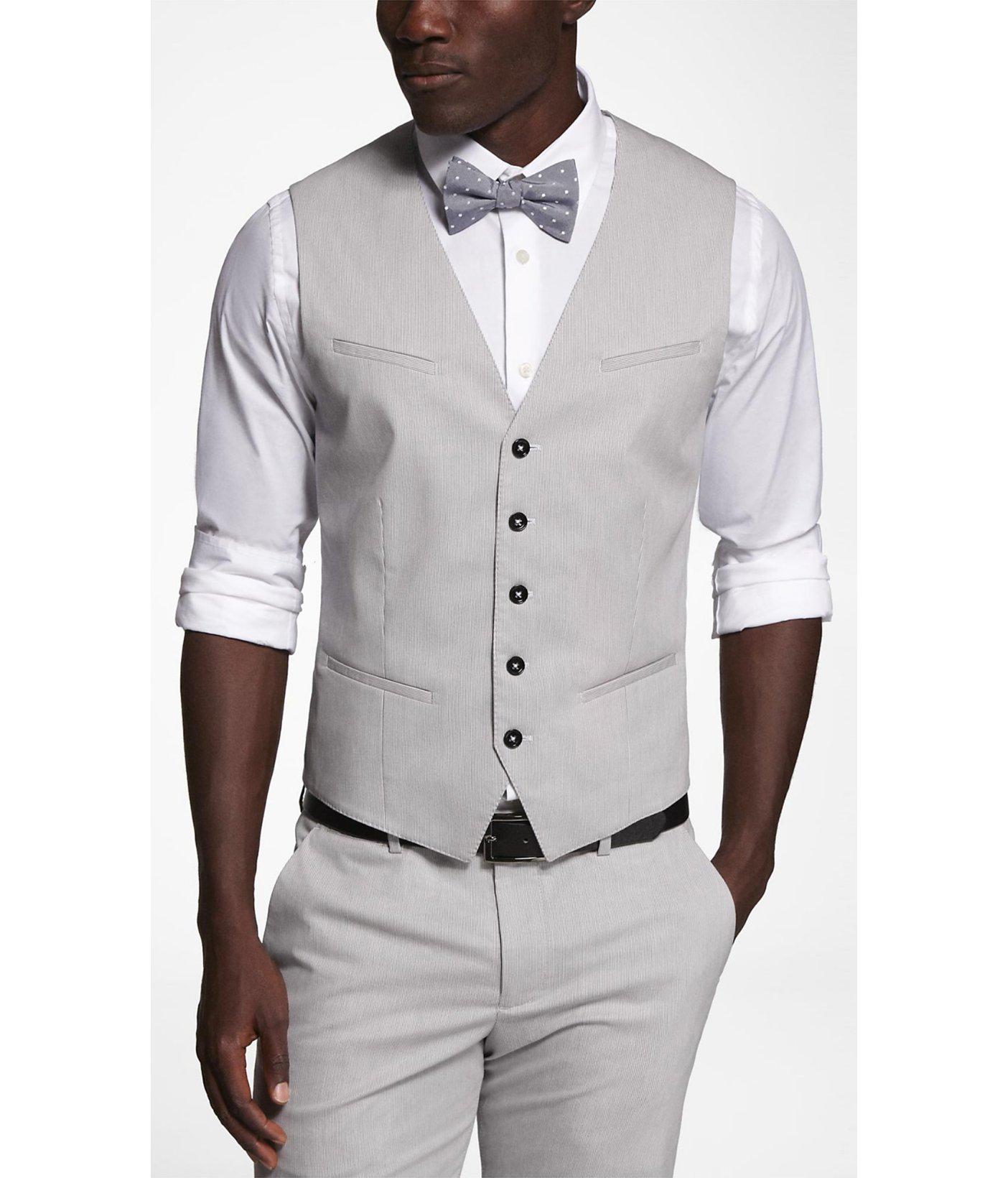 Men's Gray Pinstripe Stretch Cotton Suit Vest