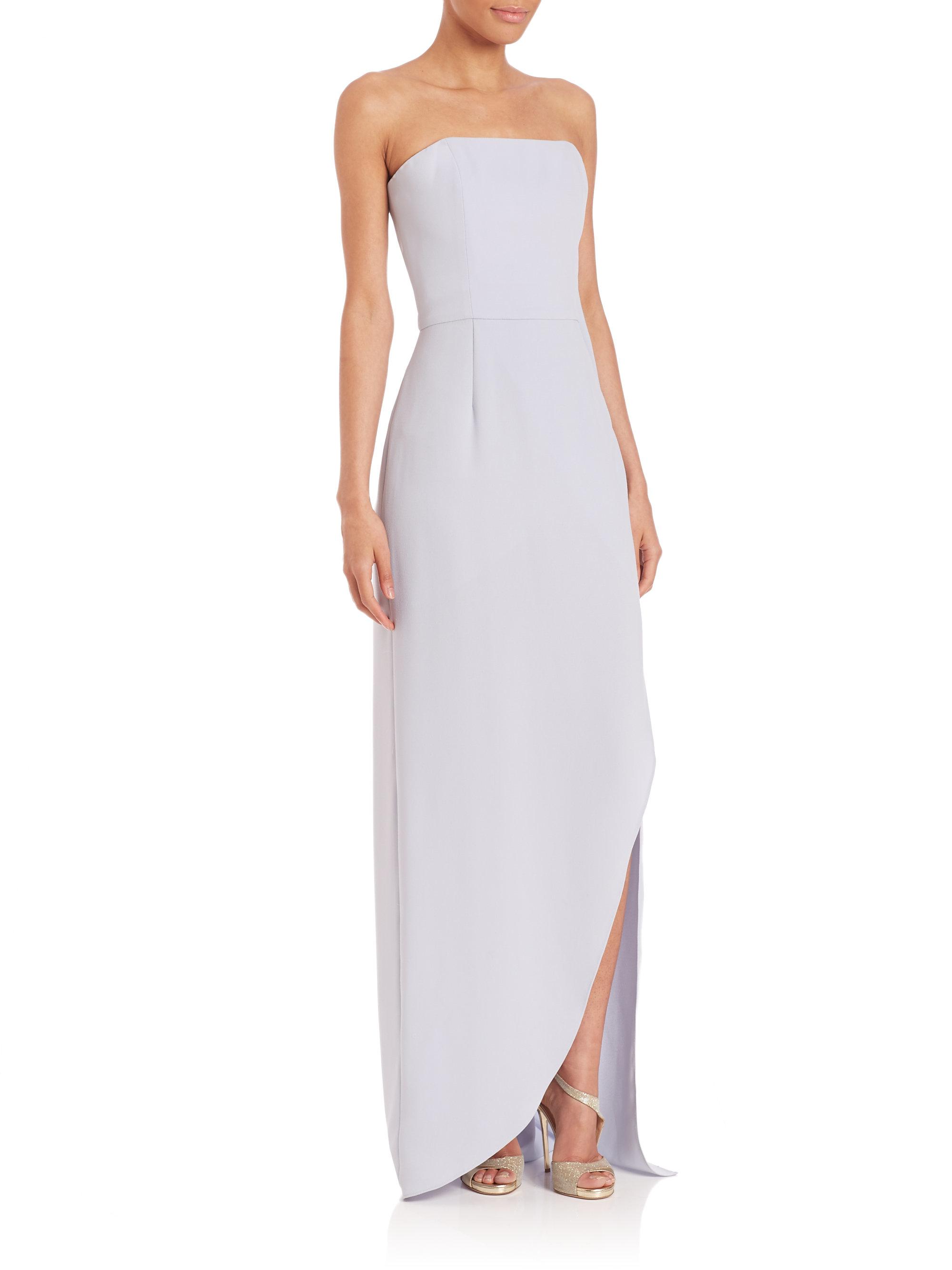 631d8b0e732e Halston Strapless Crepe Gown in Metallic - Lyst