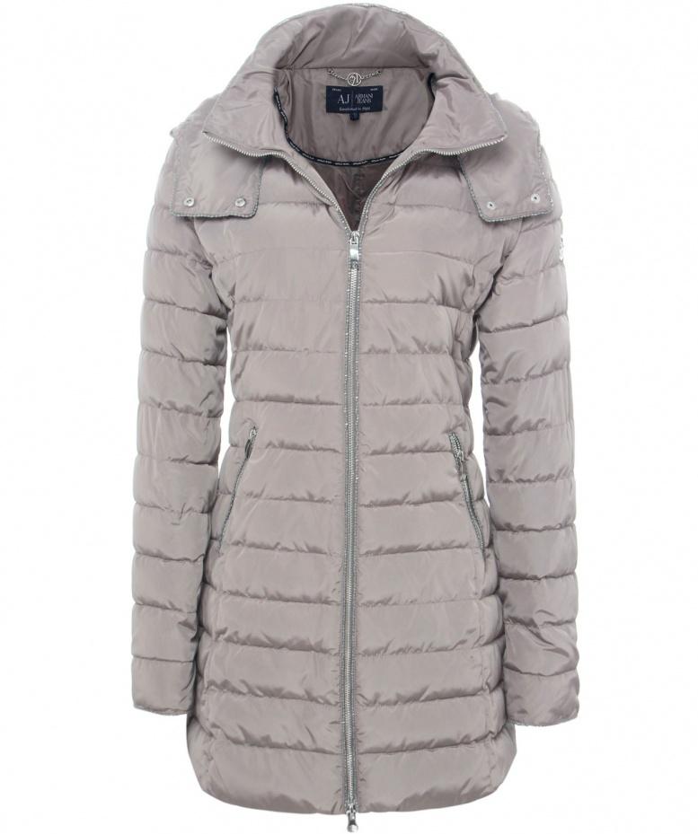 bd1ee474f Armani Jeans Gray Long Hooded Puffa Jacket
