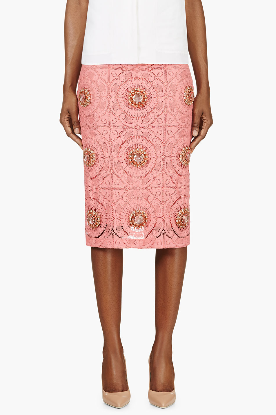 Burberry Prorsum Pink Lace Overlay Embellished Pencil ...