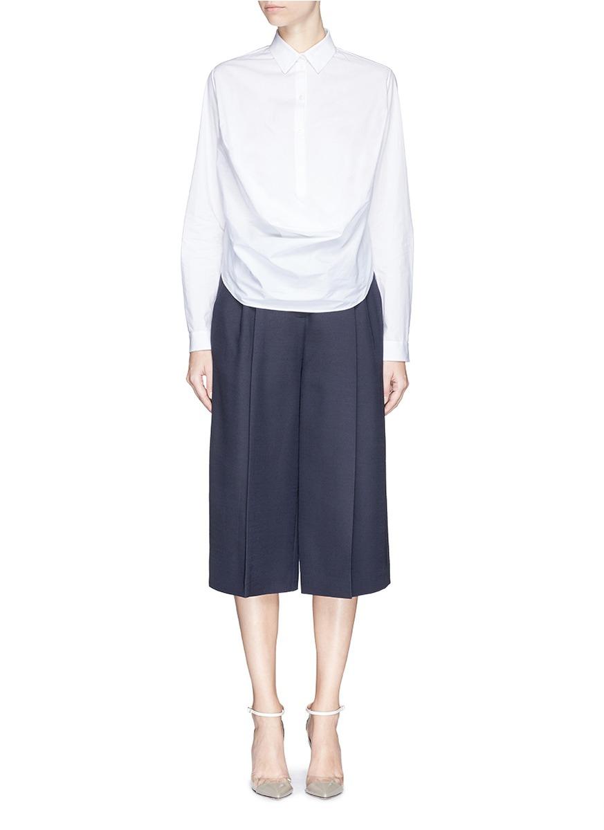 Shirt Delpozo In Cotton Drape White Poplin Lyst Front Ybfy76g