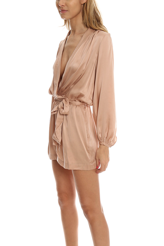 4885f29a81e6 Zimmermann Sueded Silk Wrap Playsuit in Pink - Lyst