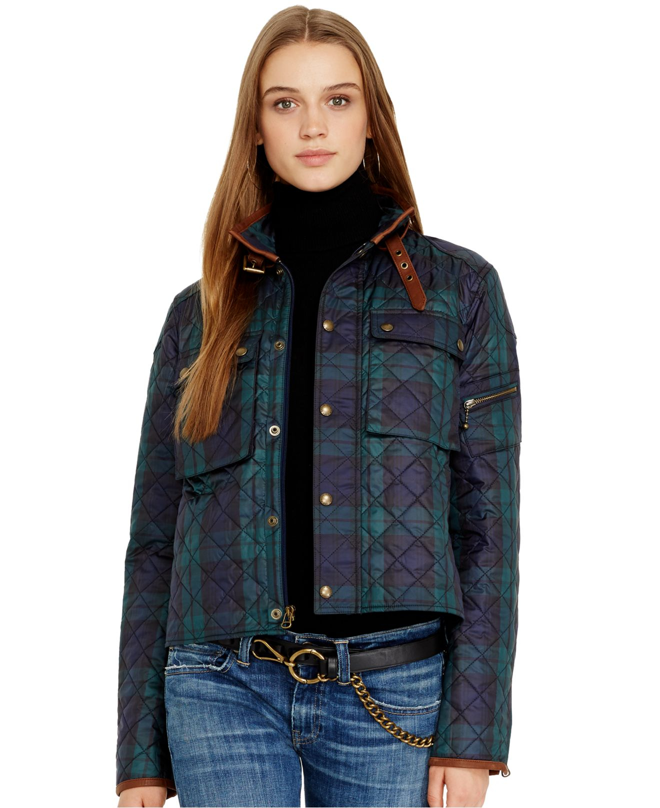 Polo Ralph Lauren Leather Trim Quilted Plaid Jacket In