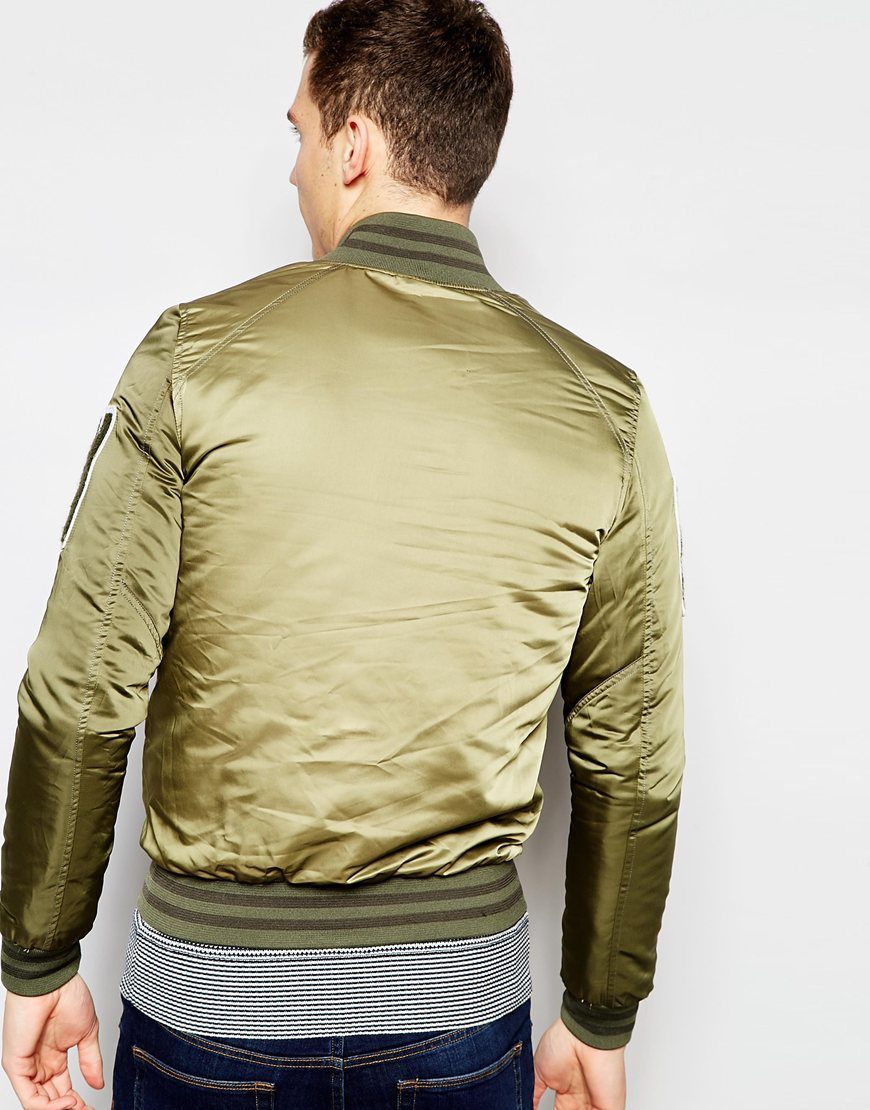 g star raw bomber jacket revend sateen in rustic green in green for men lyst. Black Bedroom Furniture Sets. Home Design Ideas