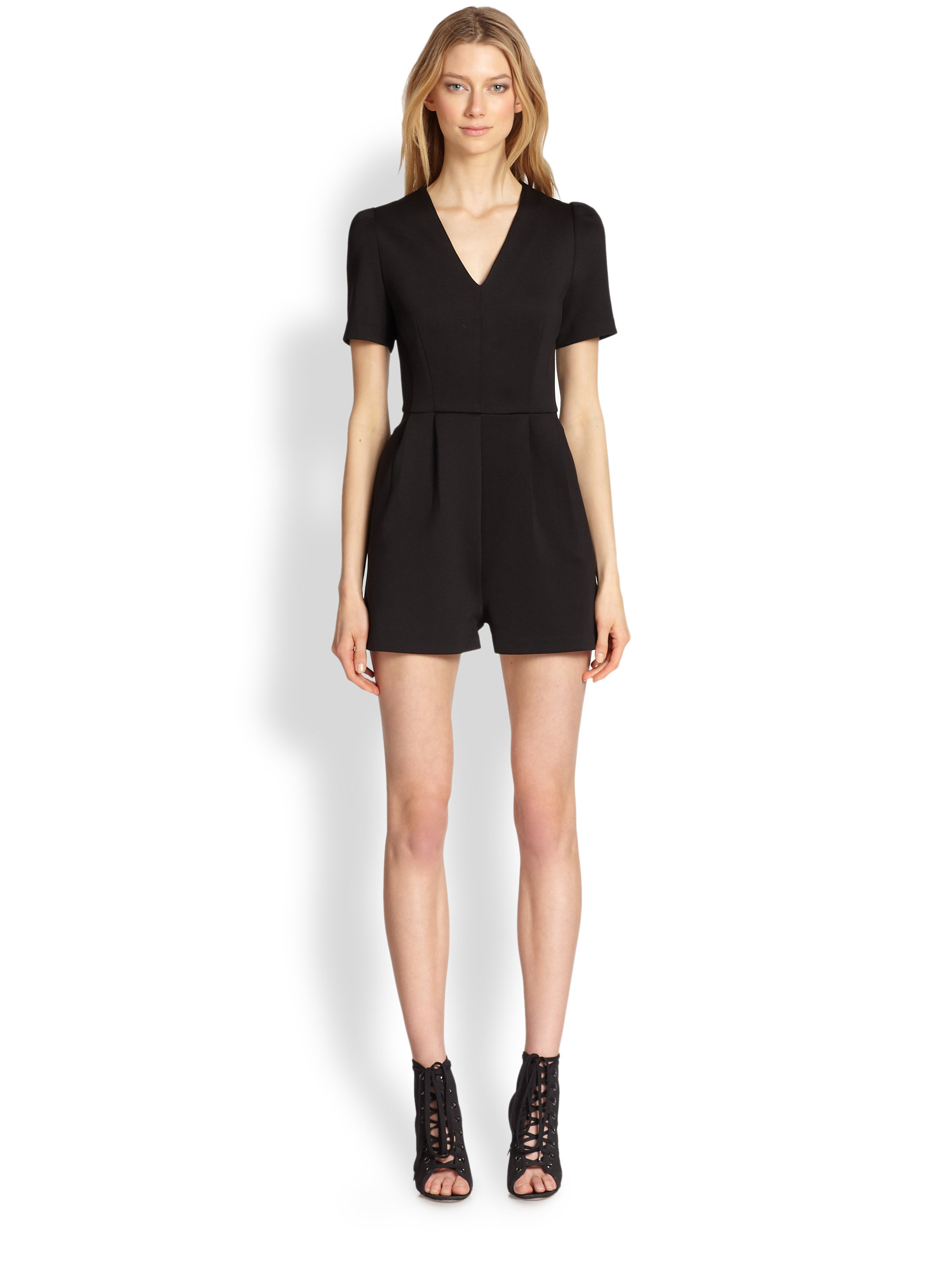 Lyst - Line & Dot Pleated-front Short Jumpsuit in Black