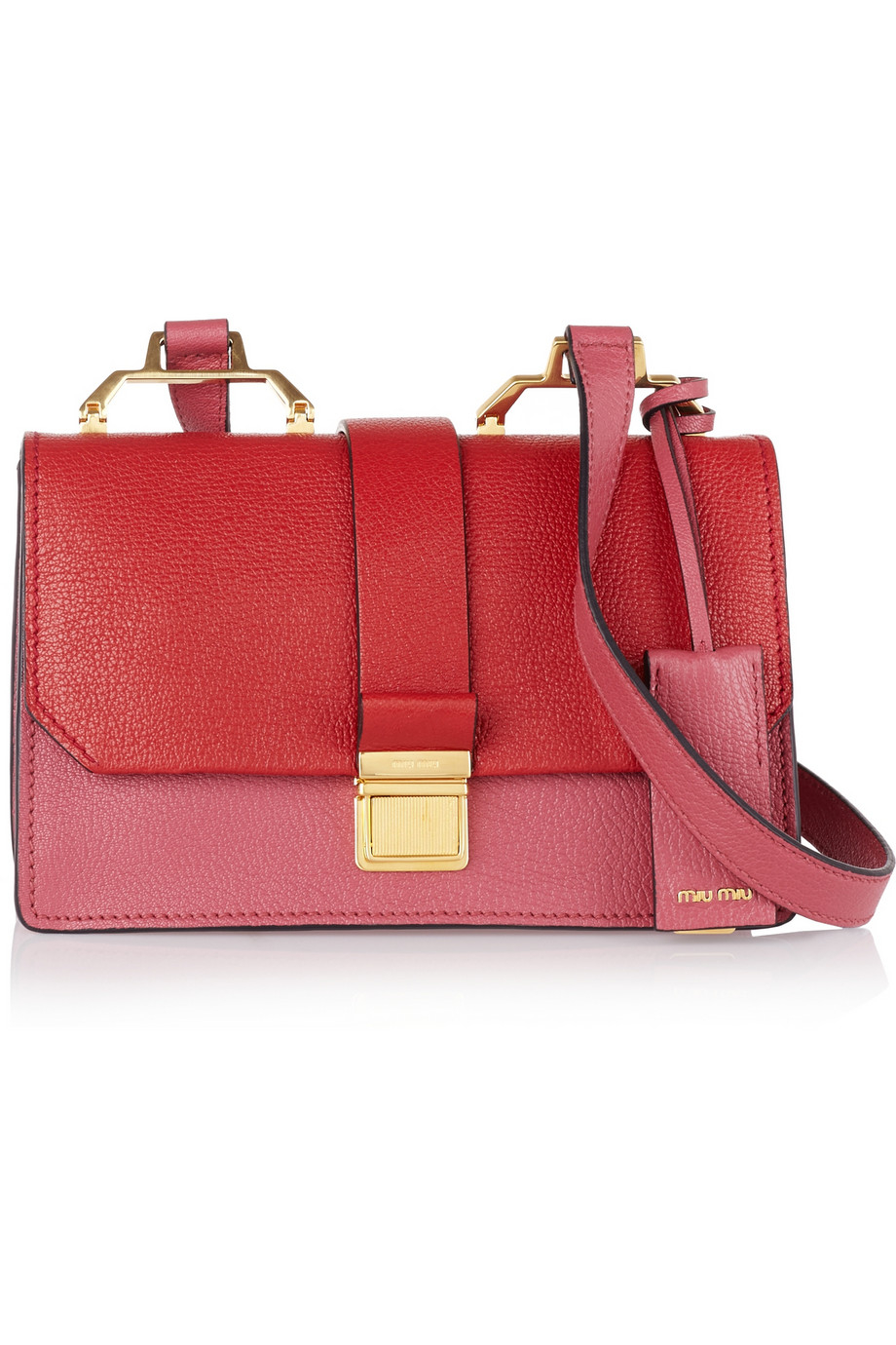 182cb42a5676 Lyst - Miu Miu Madras Textured-Leather Shoulder Bag in Red