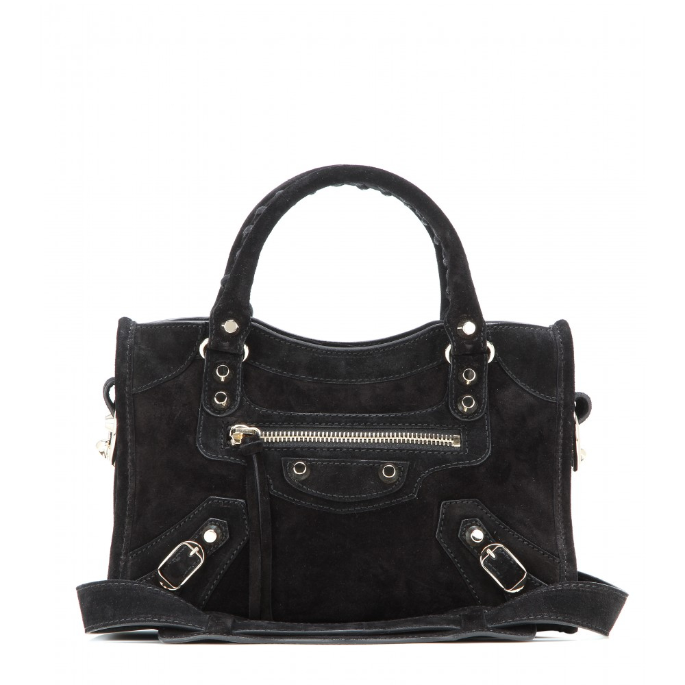 c893b7b27613 Lyst - Balenciaga Classic Mini City Suede Shoulder Bag in Black