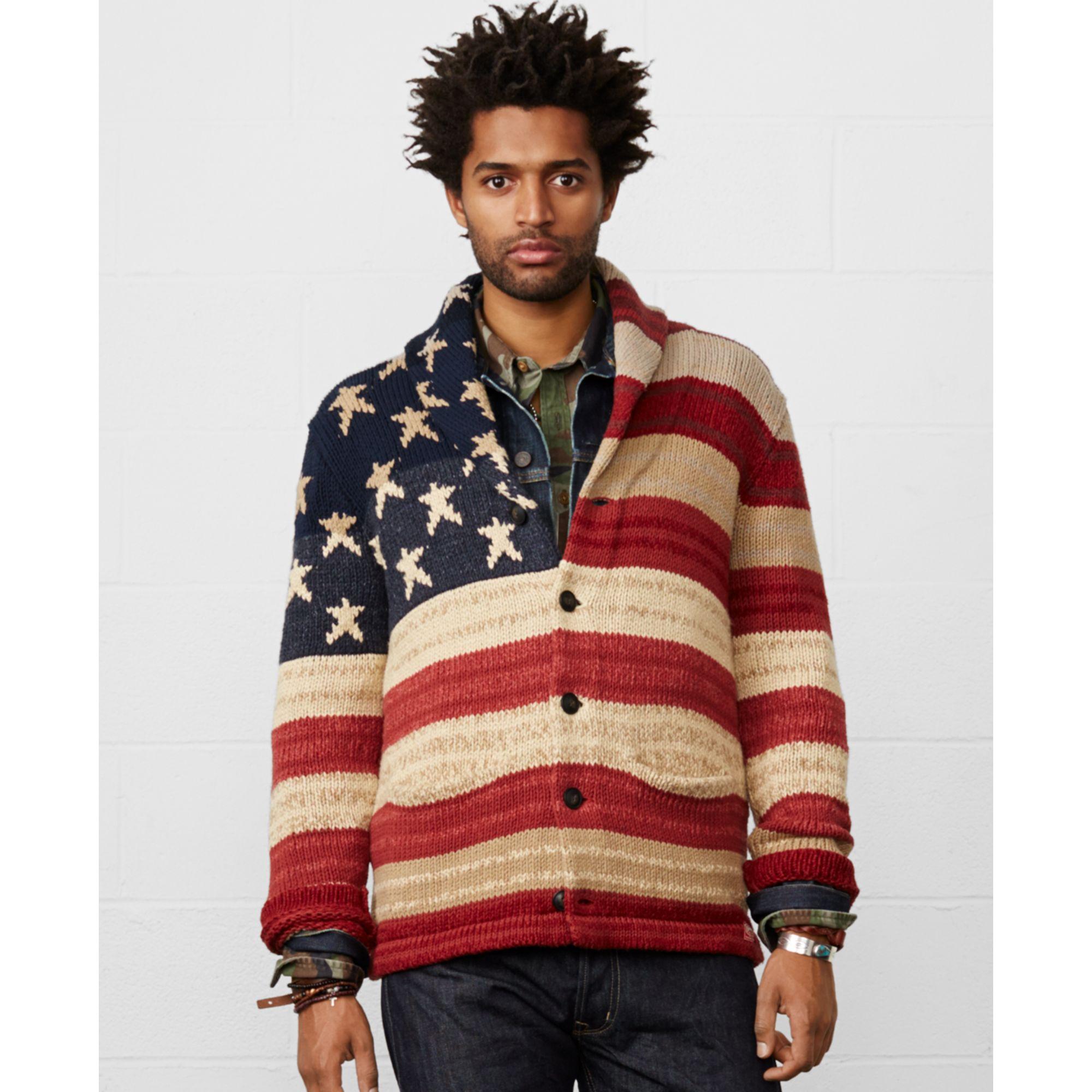 Ralph Lauren American Flag Shawl Sweater 88