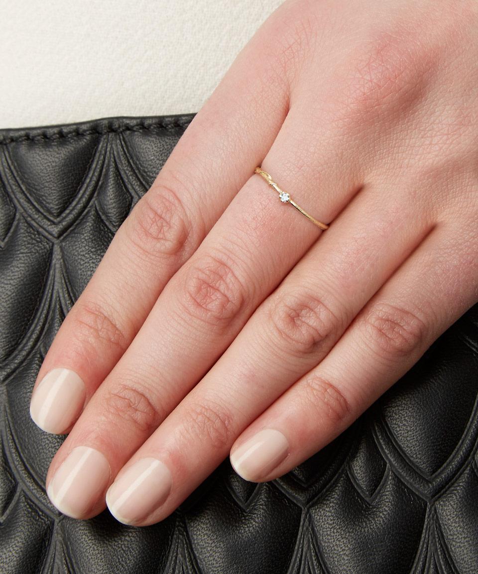 Alex Monroe 18ct Gold Aquamarine Teeny Tiny Ring in Metallic
