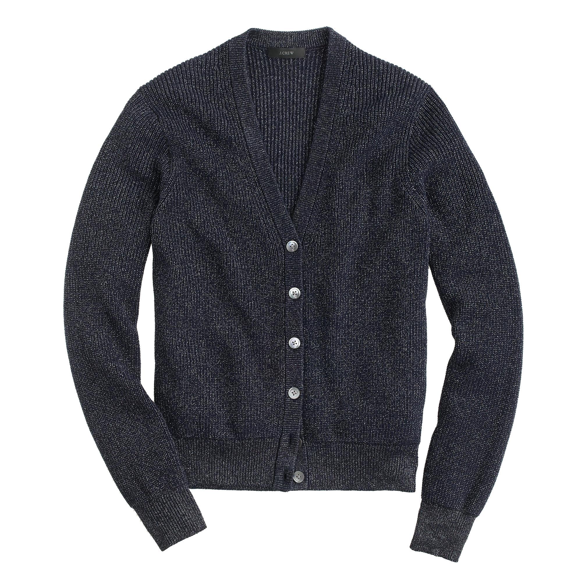 Hollister Oberbekleidung Returns Exchanges Hollister Pullover Hollister Hoodies Hollister Jeans: J.Crew Denim Ribbed Metallic Cardigan Sweater In Blue For