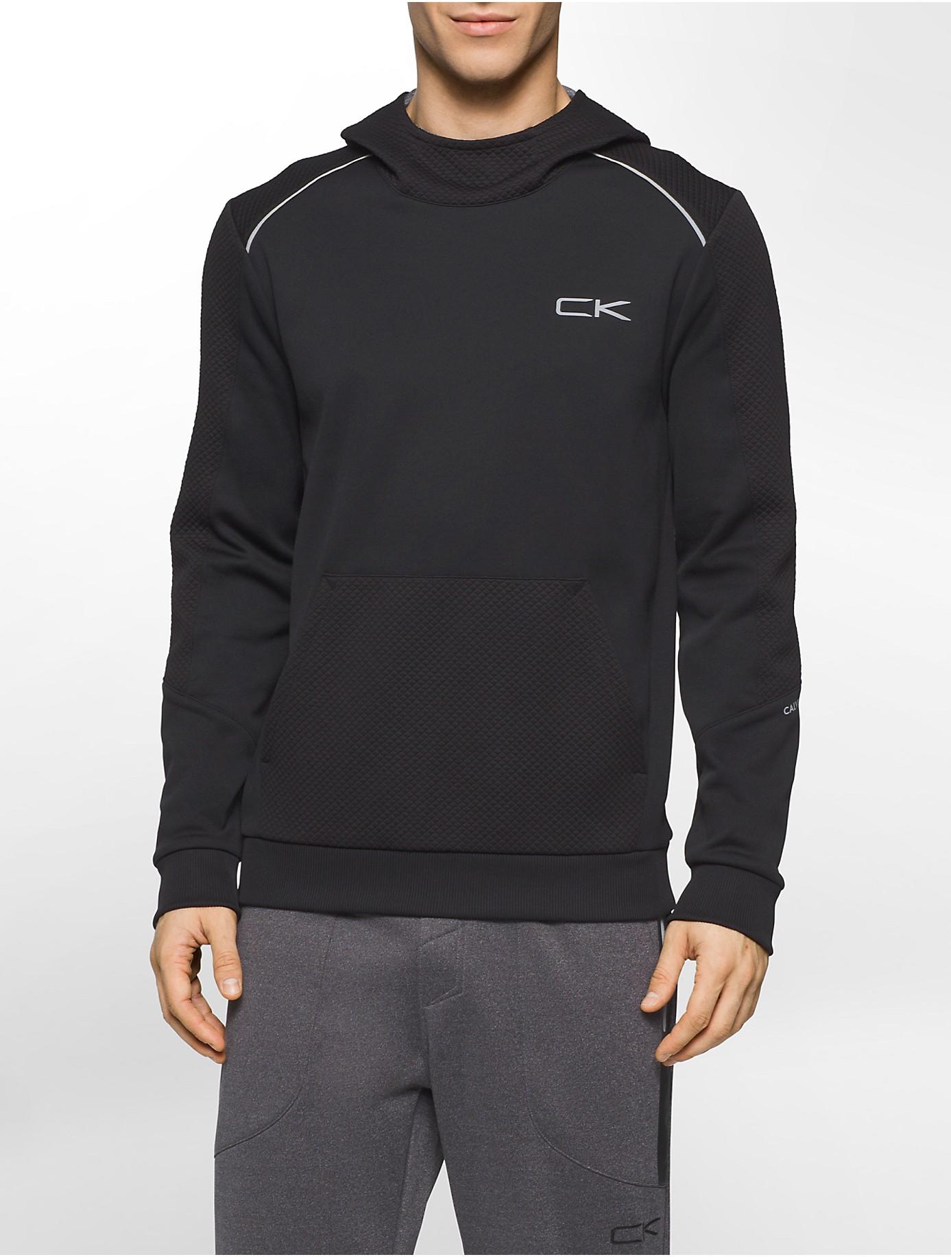 calvin klein performance textured fleece hoodie in black for men lyst. Black Bedroom Furniture Sets. Home Design Ideas