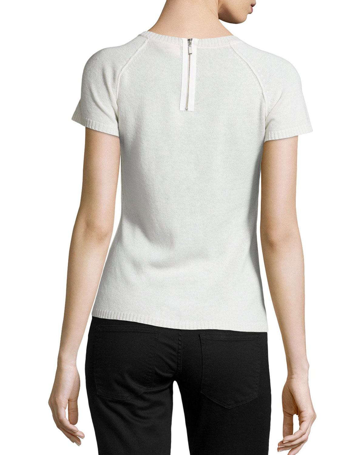 White Short Sleeve Cashmere Sweater - Cashmere Sweater England