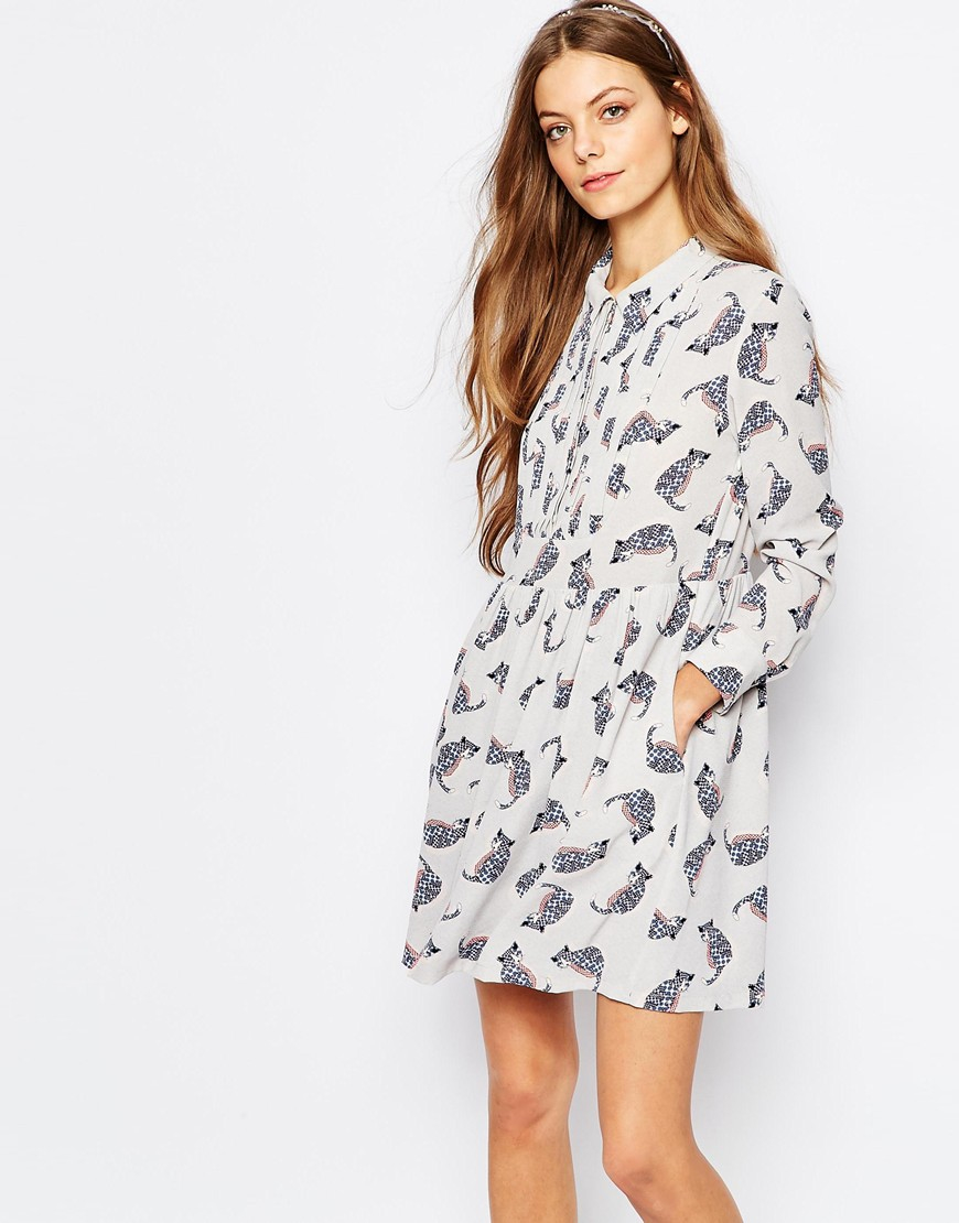 lyst paul joe paul and joe sister babydoll dress in grey cat print in gray. Black Bedroom Furniture Sets. Home Design Ideas
